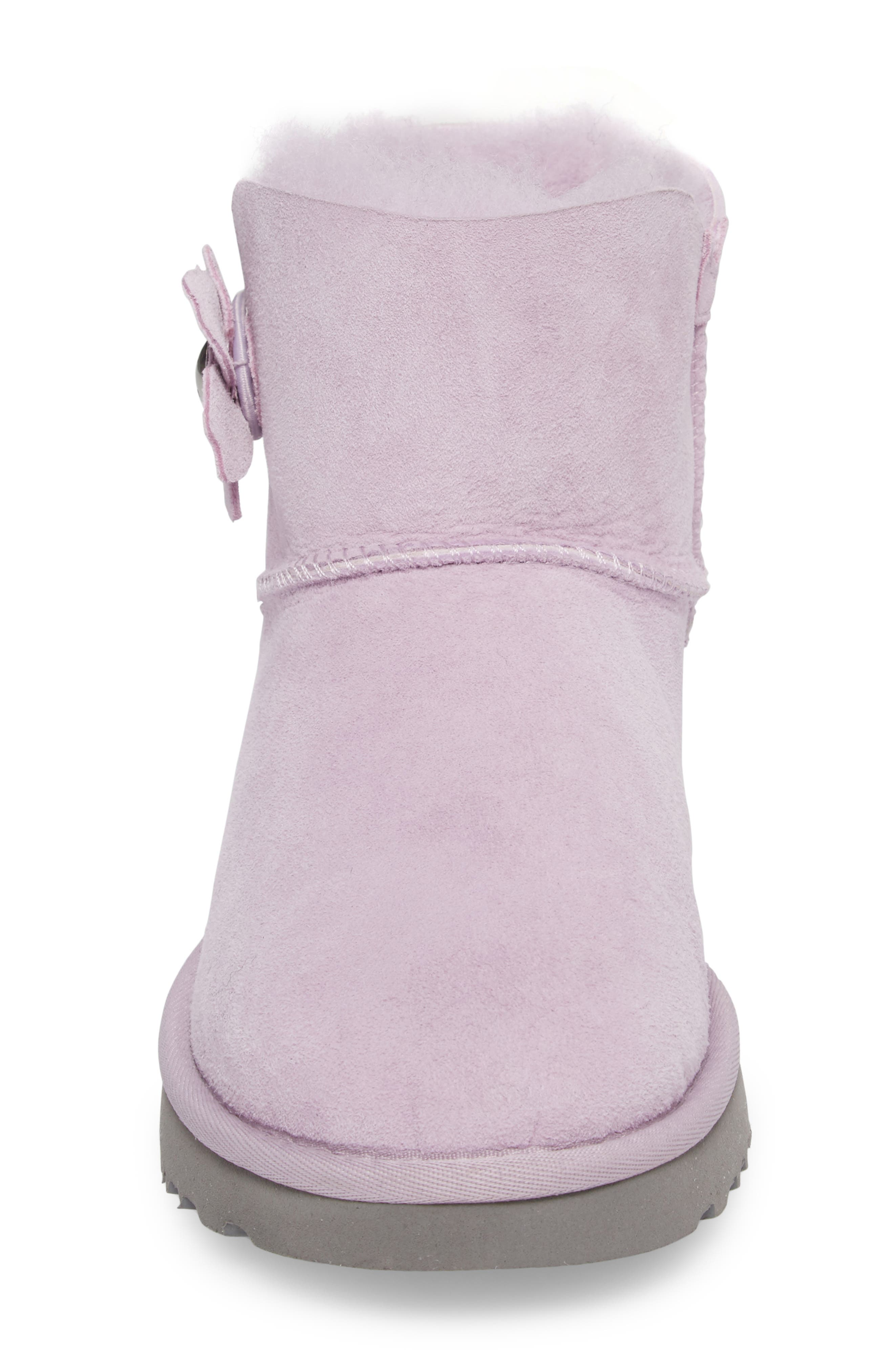 Mini Bailey Button Poppy Genuine Shearling Lined Boot,                             Alternate thumbnail 4, color,                             Lavender Fog