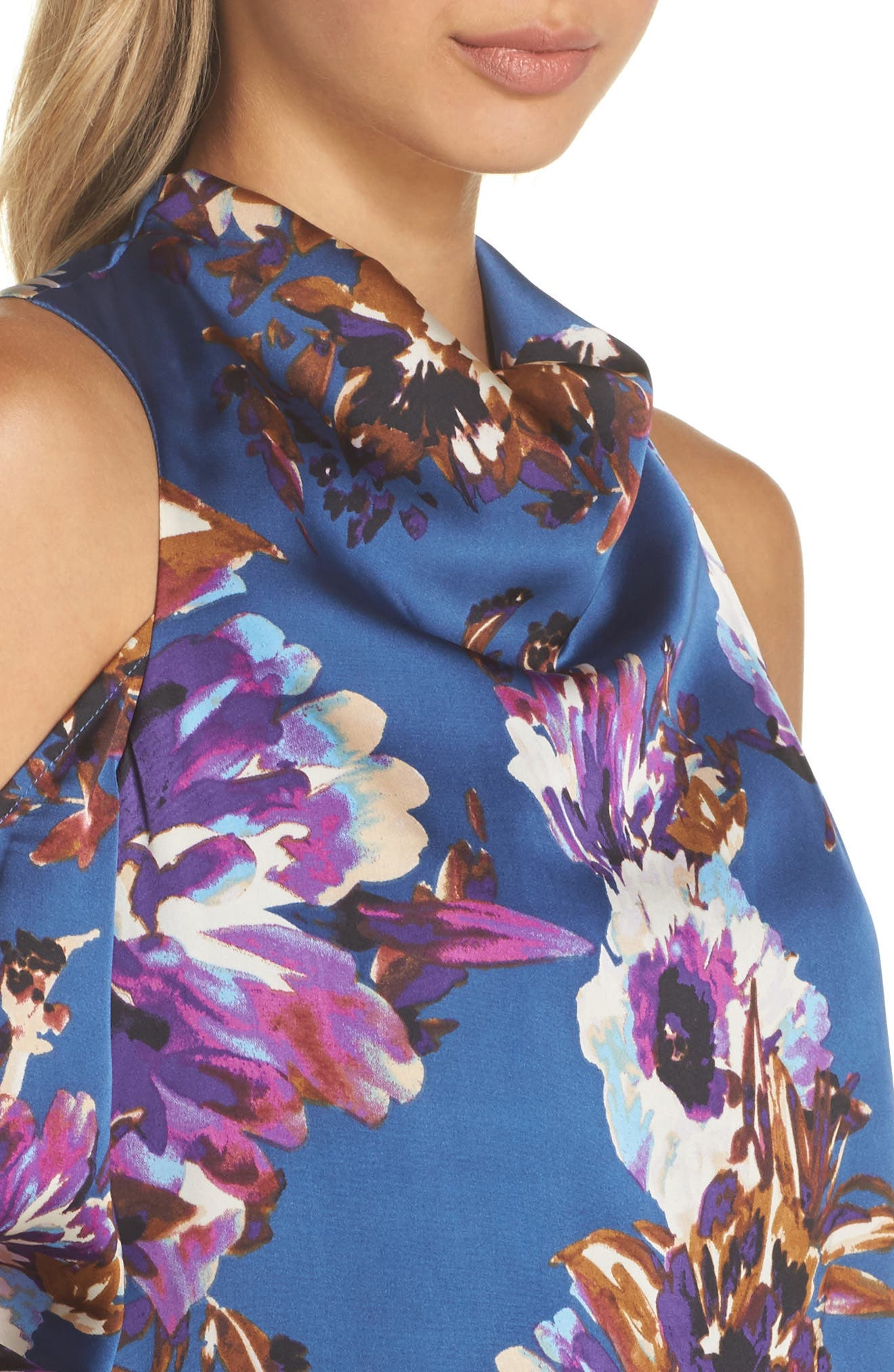 Woman in the Window Minidress,                             Alternate thumbnail 5, color,                             French Blue Floral Satin