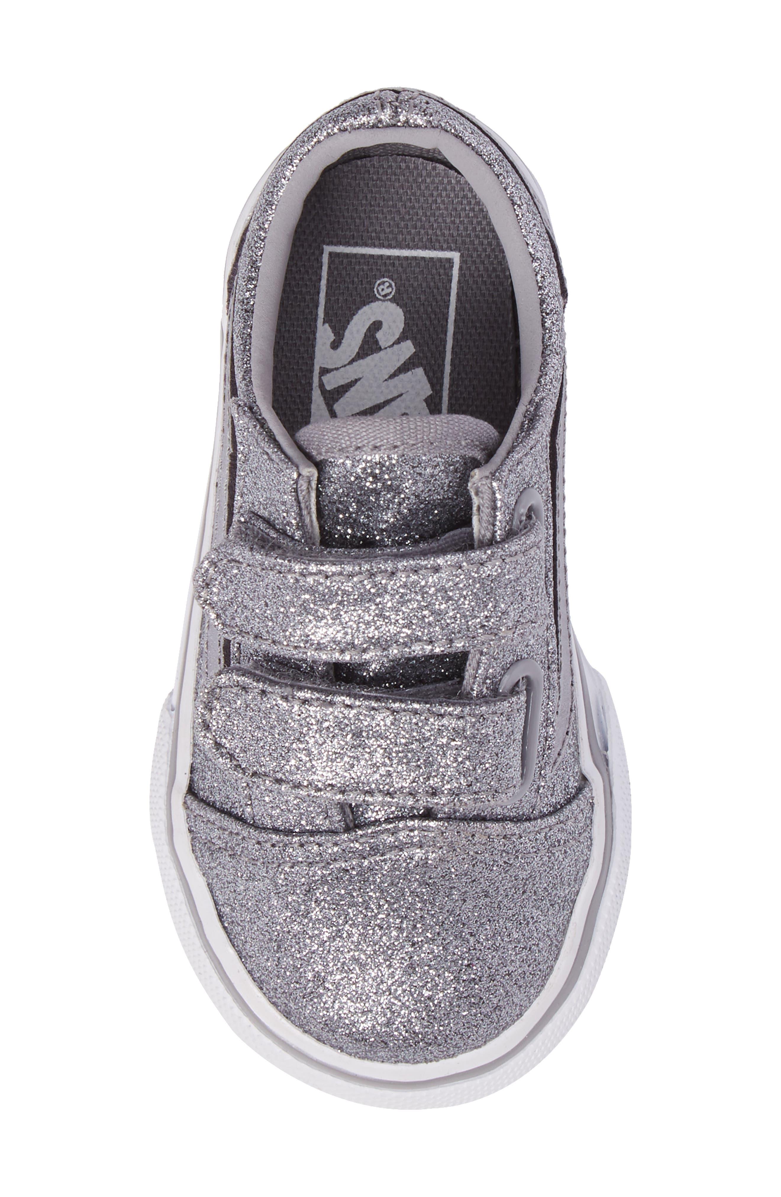Old Skool V Glitter Sneaker,                             Alternate thumbnail 5, color,                             Glitter  Metallic Frost Gray