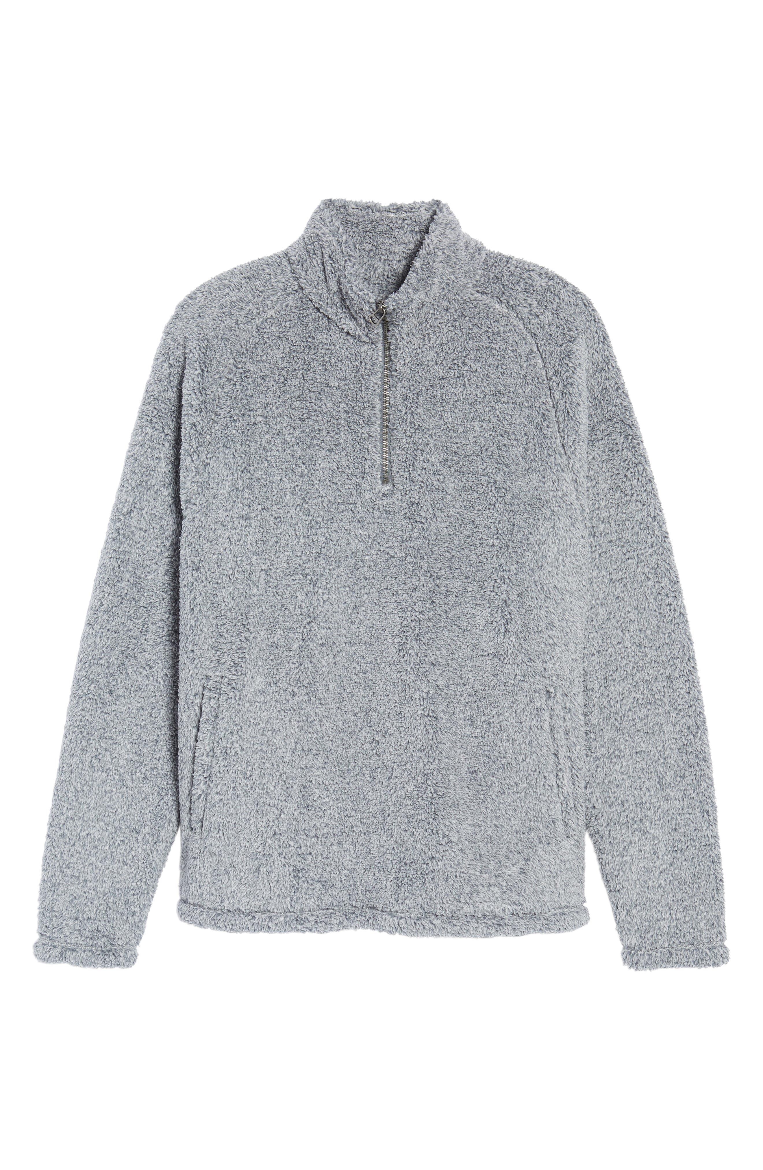 Polar Fleece Quarter Zip Pullover,                             Alternate thumbnail 6, color,                             Black Caviar Heather