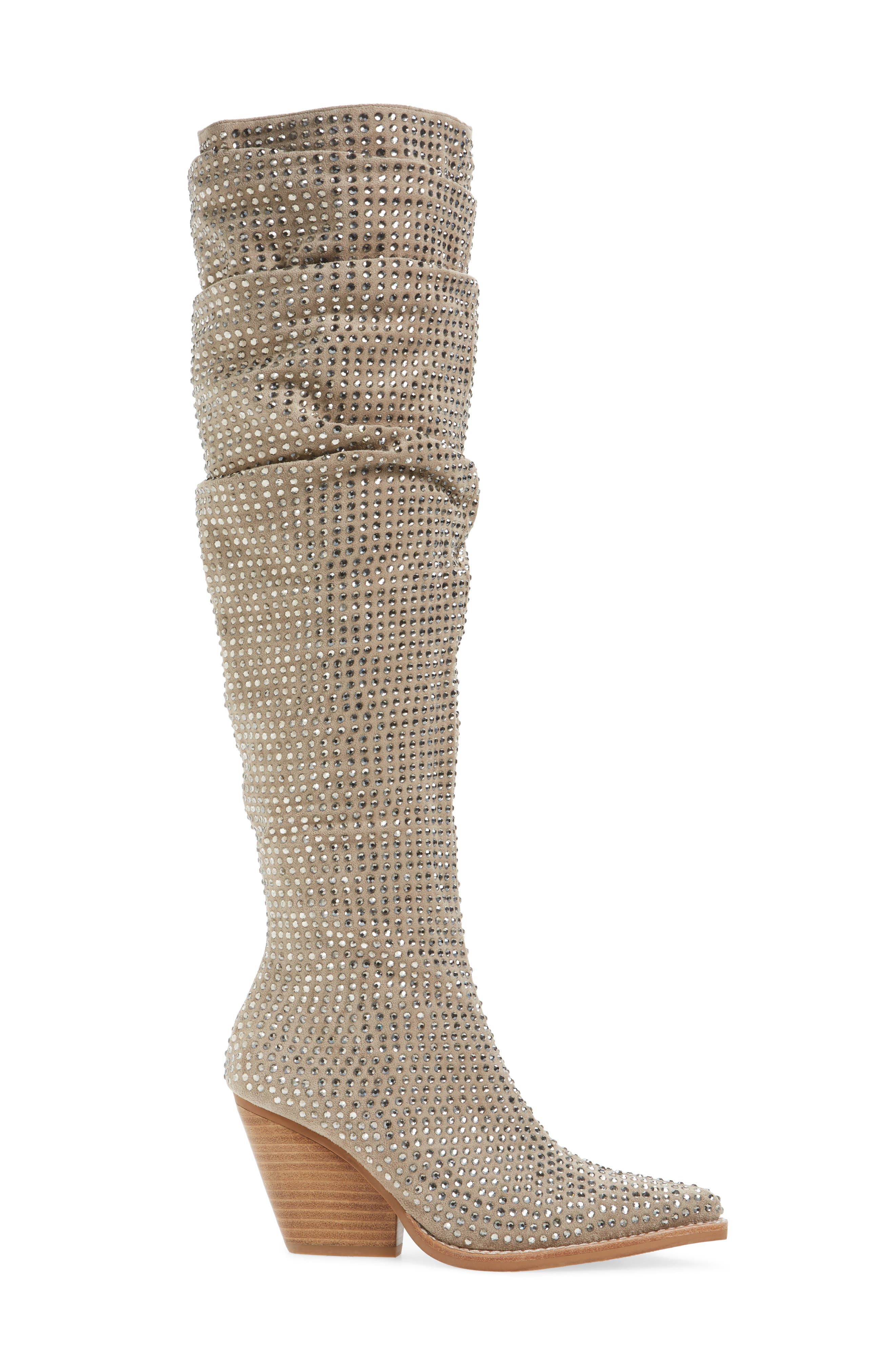 Controlla Slouch Over the Knee Boot,                             Alternate thumbnail 3, color,                             Taupe/ Silver Faux Suede