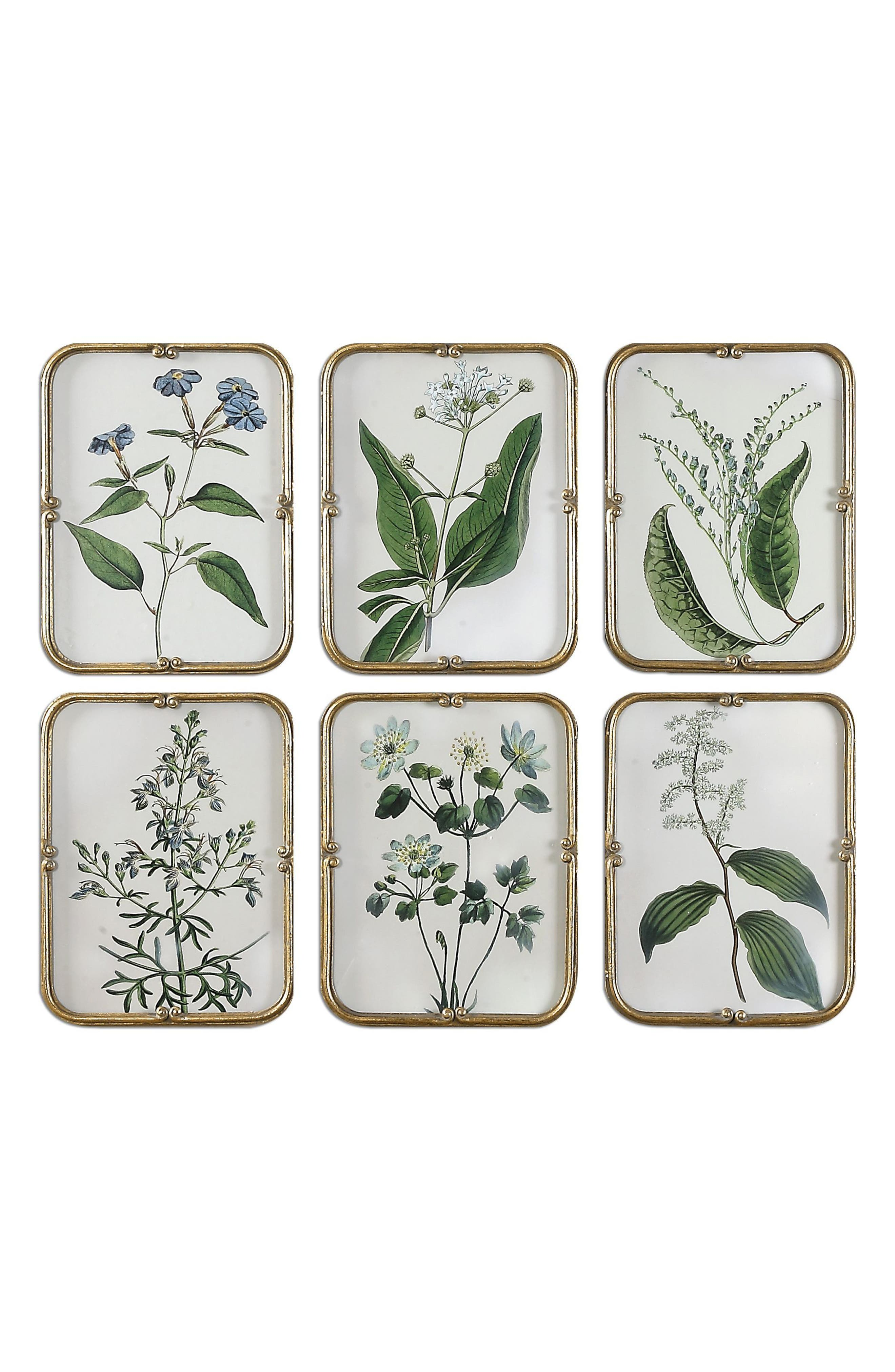 Blue Floral 6-Piece Wall Art Set,                         Main,                         color, Ivory
