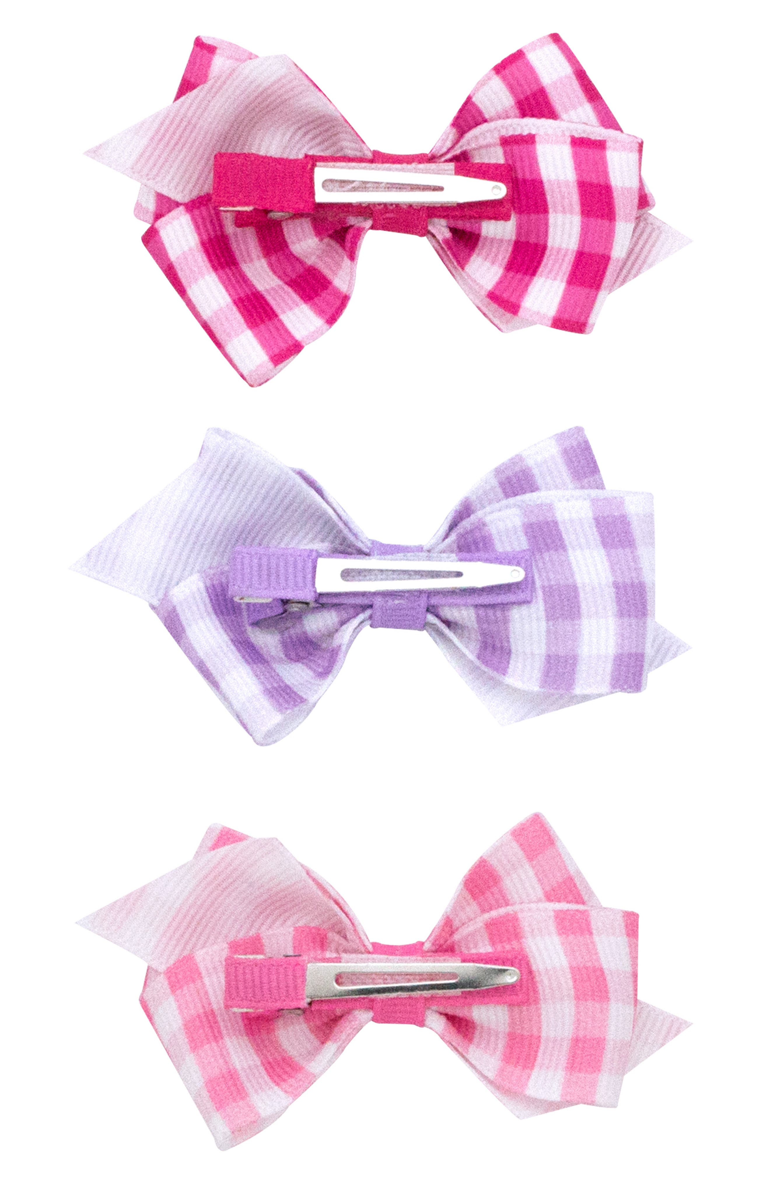 Alternate Image 2  - PLH Bows & Laces 3-Pack Gingham Bows (Baby Girls)