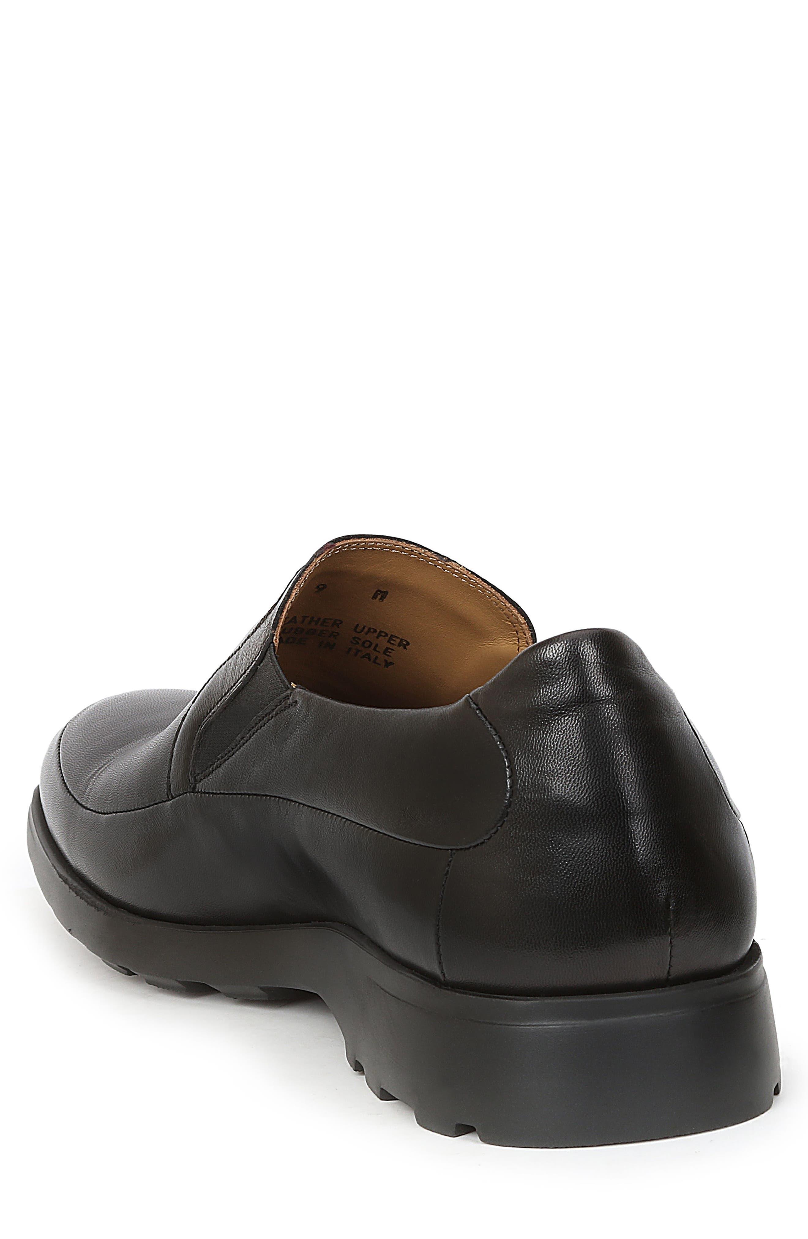 Vegas Apron Toe Loafer,                             Alternate thumbnail 2, color,                             Black Leather