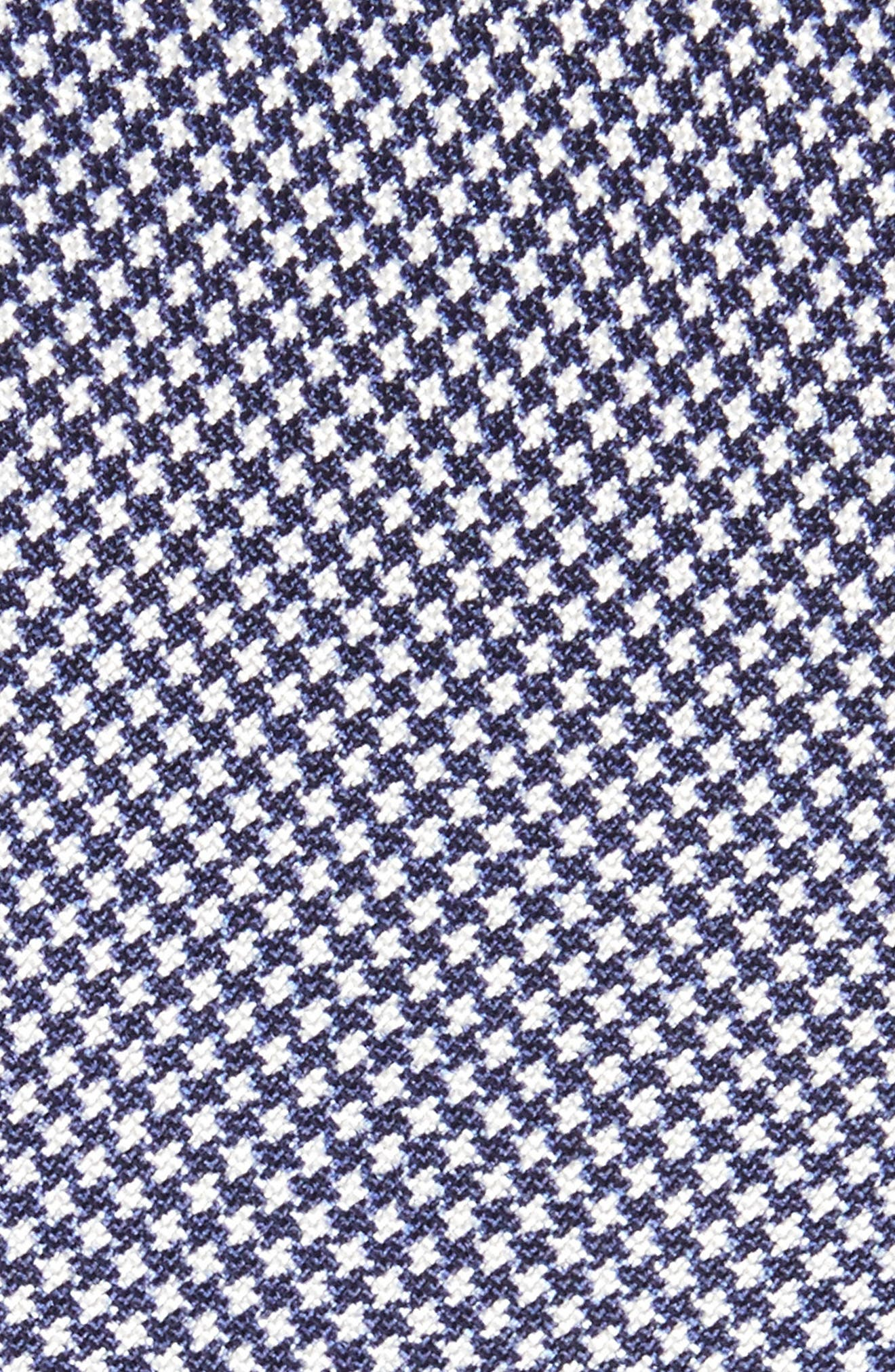 Houndstooth Silk Skinny Tie,                             Alternate thumbnail 2, color,                             Navy