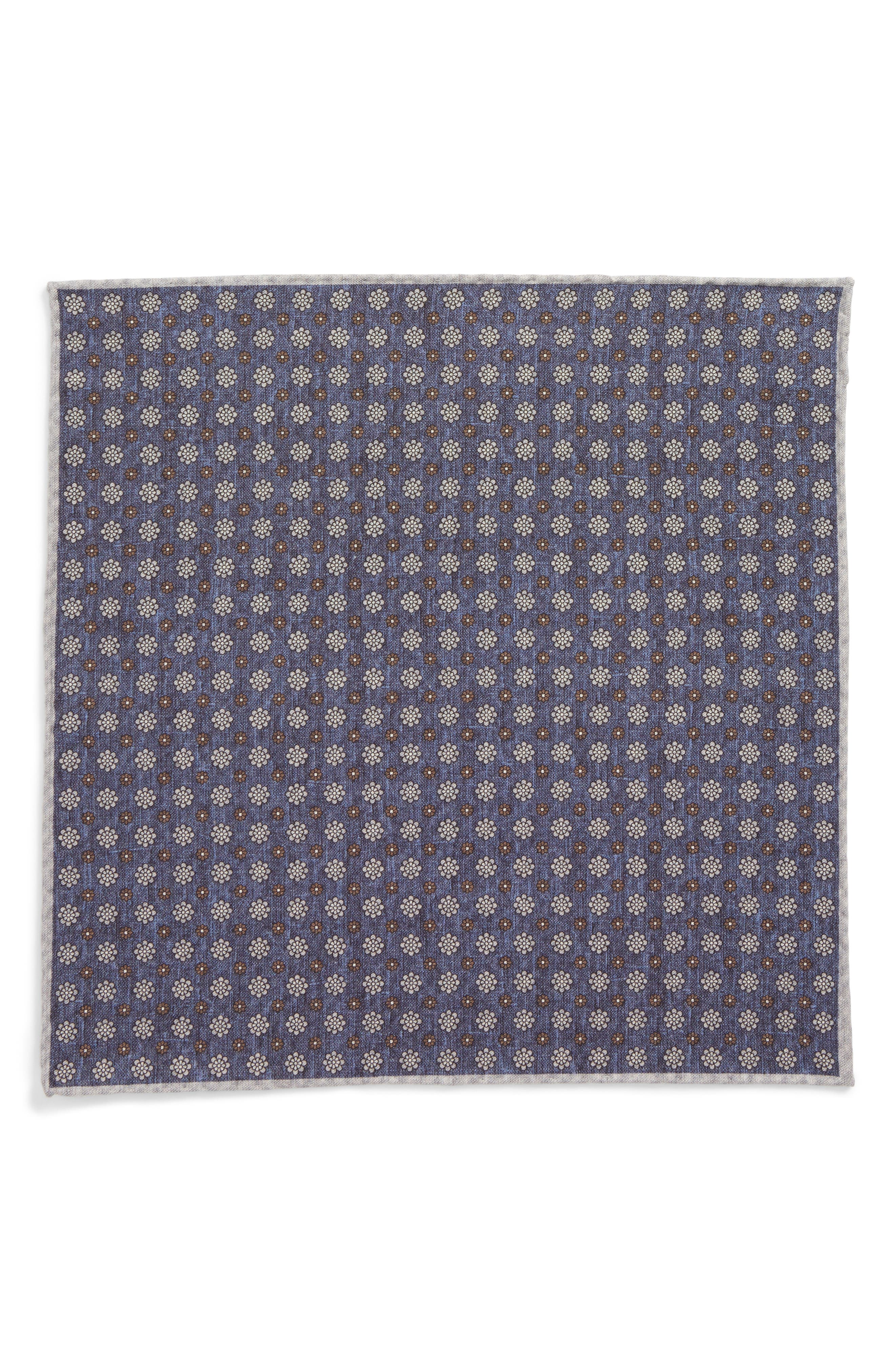 Medallion Wool & Cotton Pocket Square,                             Alternate thumbnail 2, color,                             Navy
