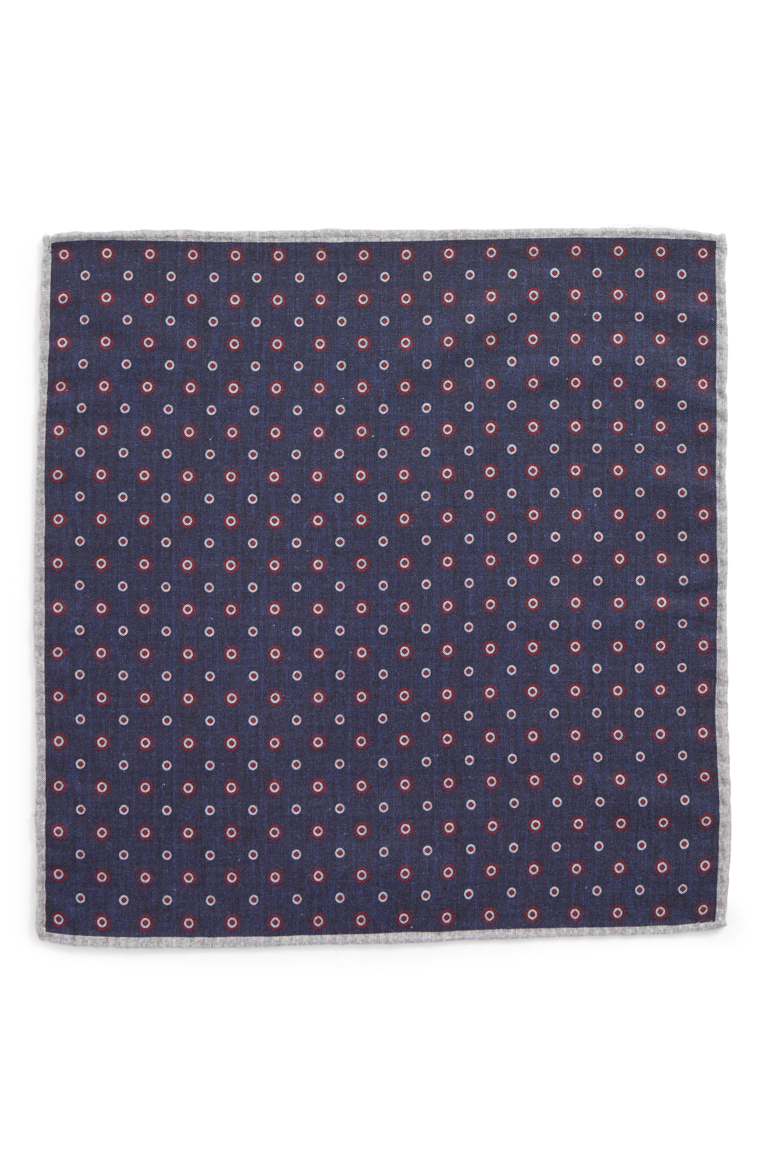Medallion Wool & Cotton Pocket Square,                             Alternate thumbnail 3, color,                             Blue