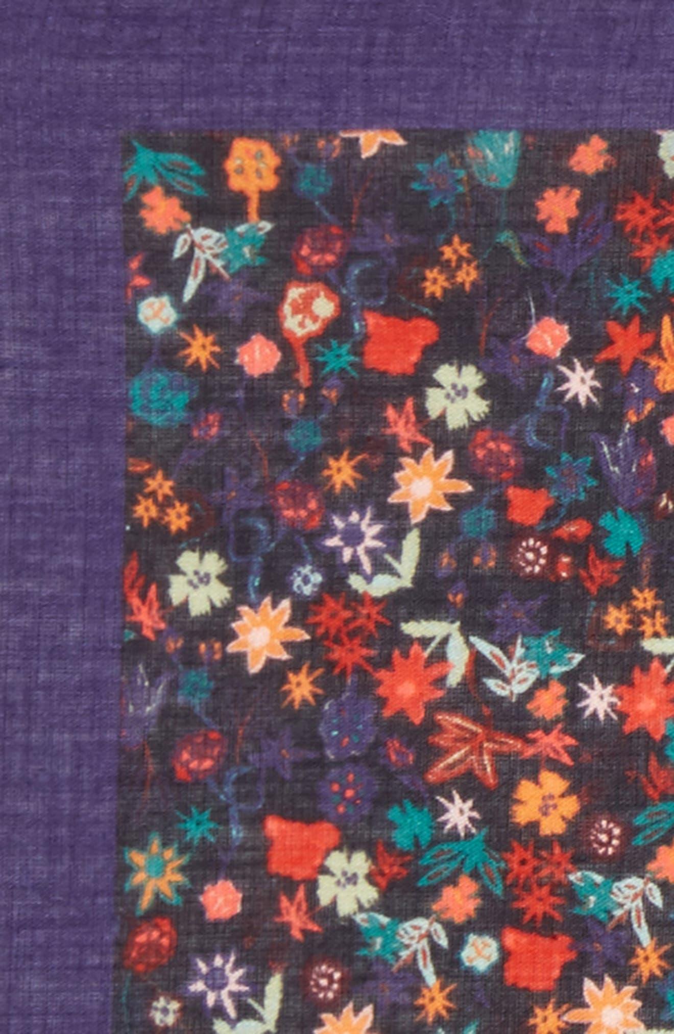 Floral Cotton Pocket Square,                             Alternate thumbnail 3, color,                             Cobalt Blue