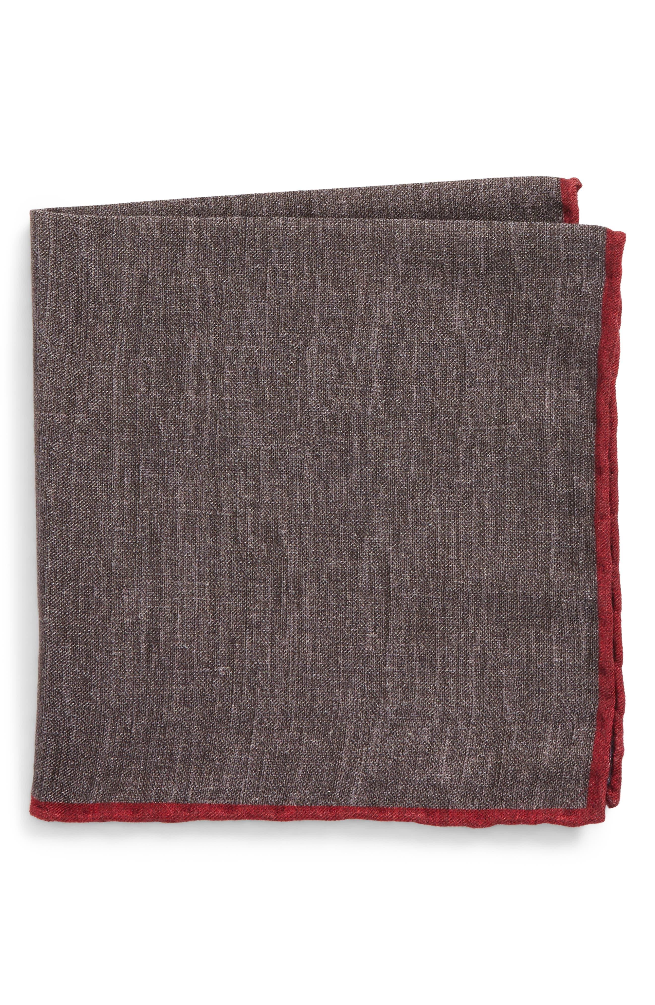 Main Image - Eleventy Solid Wool & Cotton Pocket Square