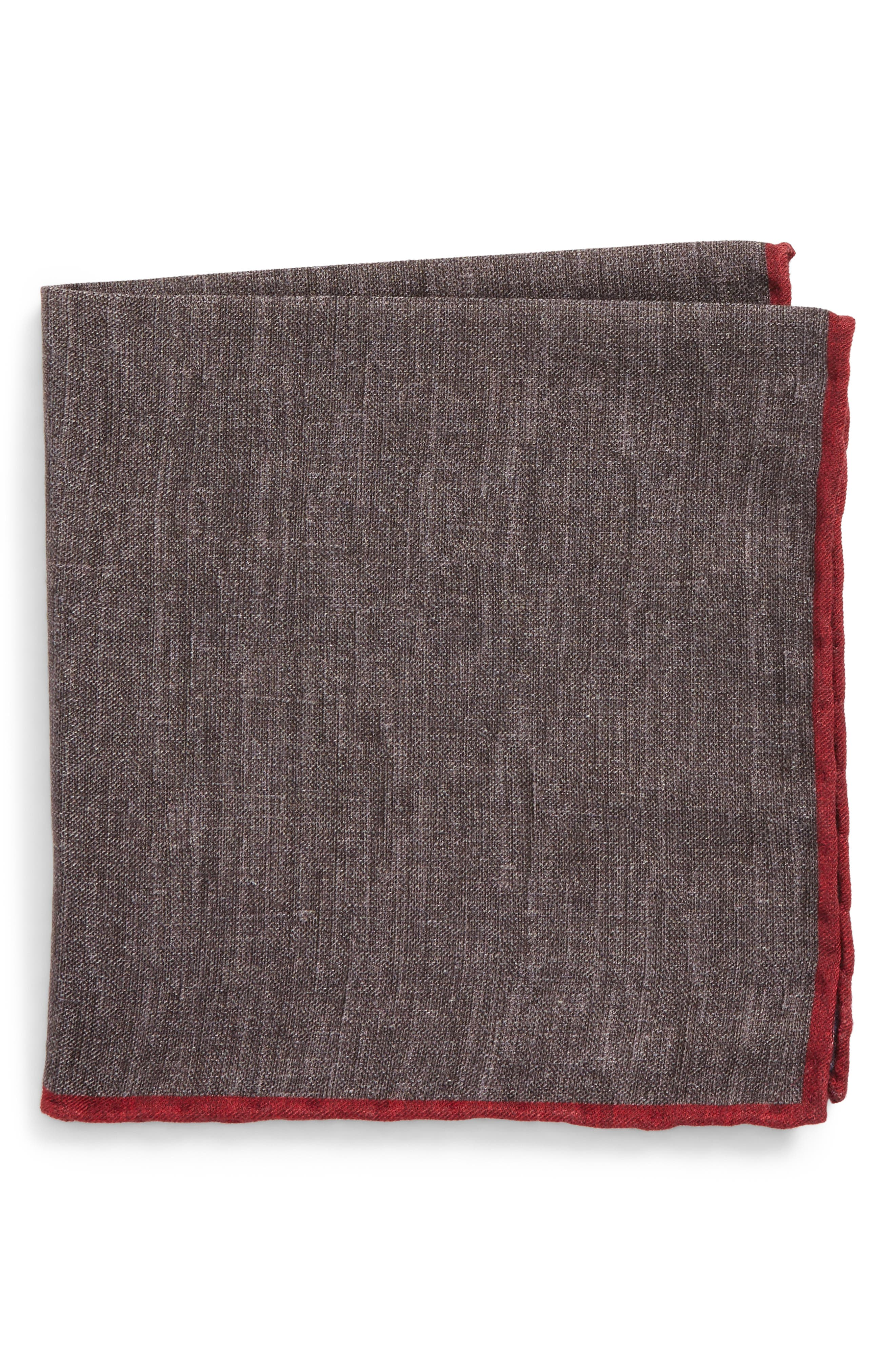 Solid Wool & Cotton Pocket Square,                         Main,                         color, Charcoal