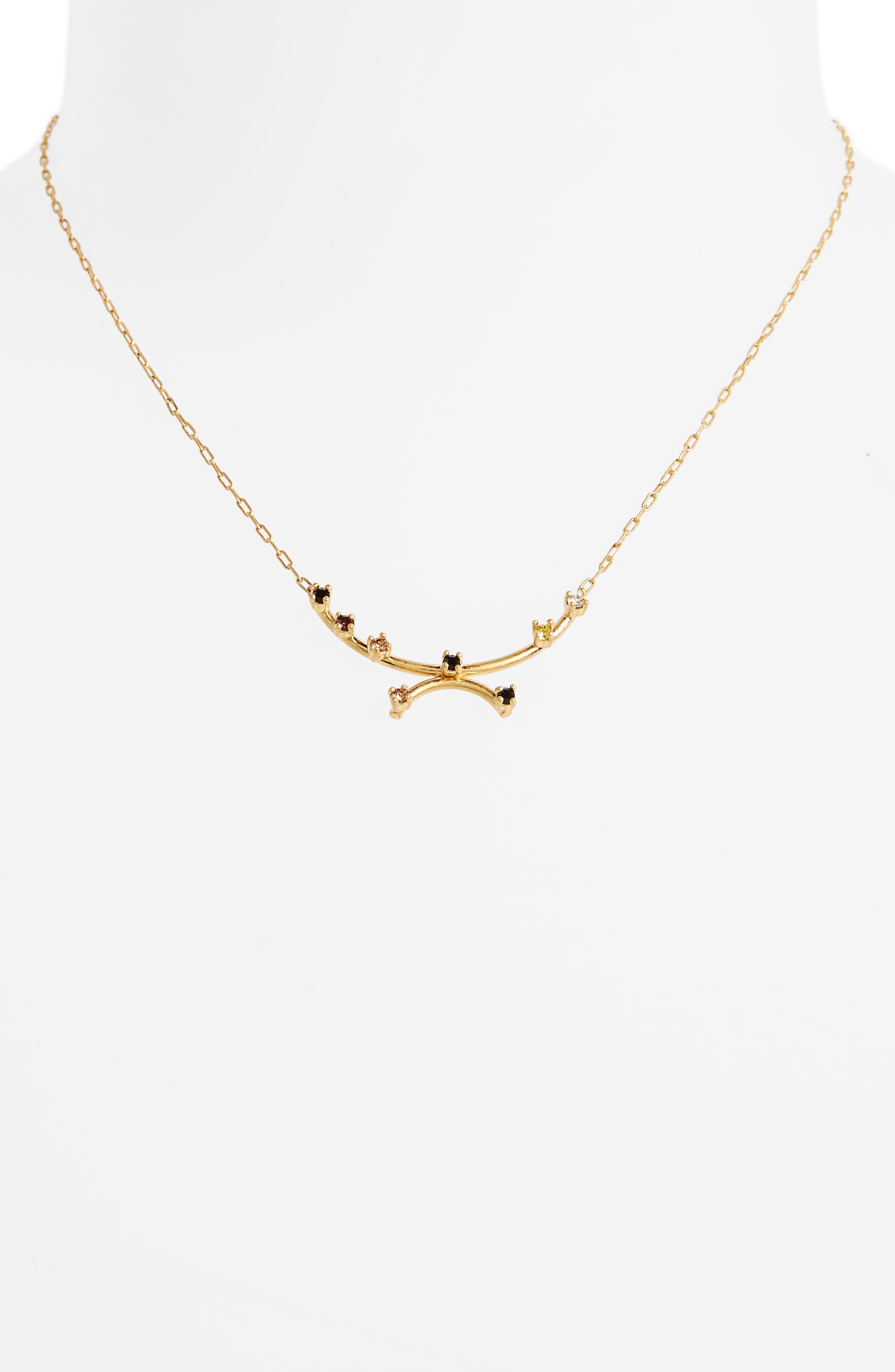 Gem Line Necklace,                             Alternate thumbnail 2, color,                             Vintage Gold