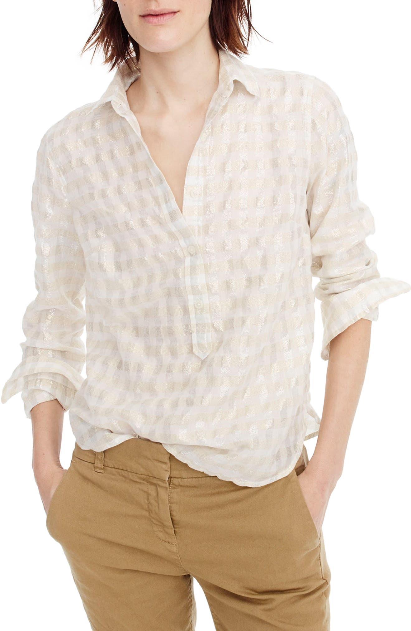 Main Image - J.Crew Metallic Cotton Voile Popover Shirt (Regular & Petite)