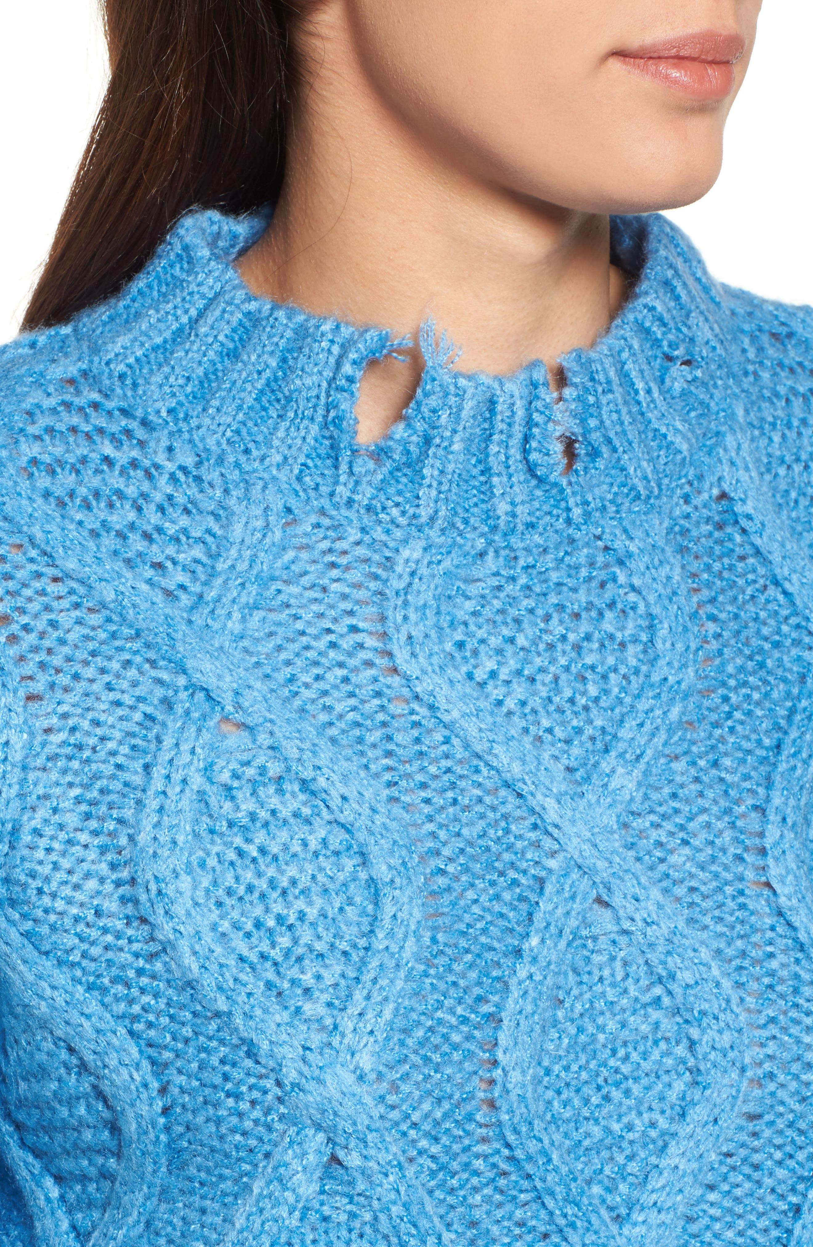 Destroyed Cable Knit Sweater,                             Alternate thumbnail 4, color,                             Turquoise