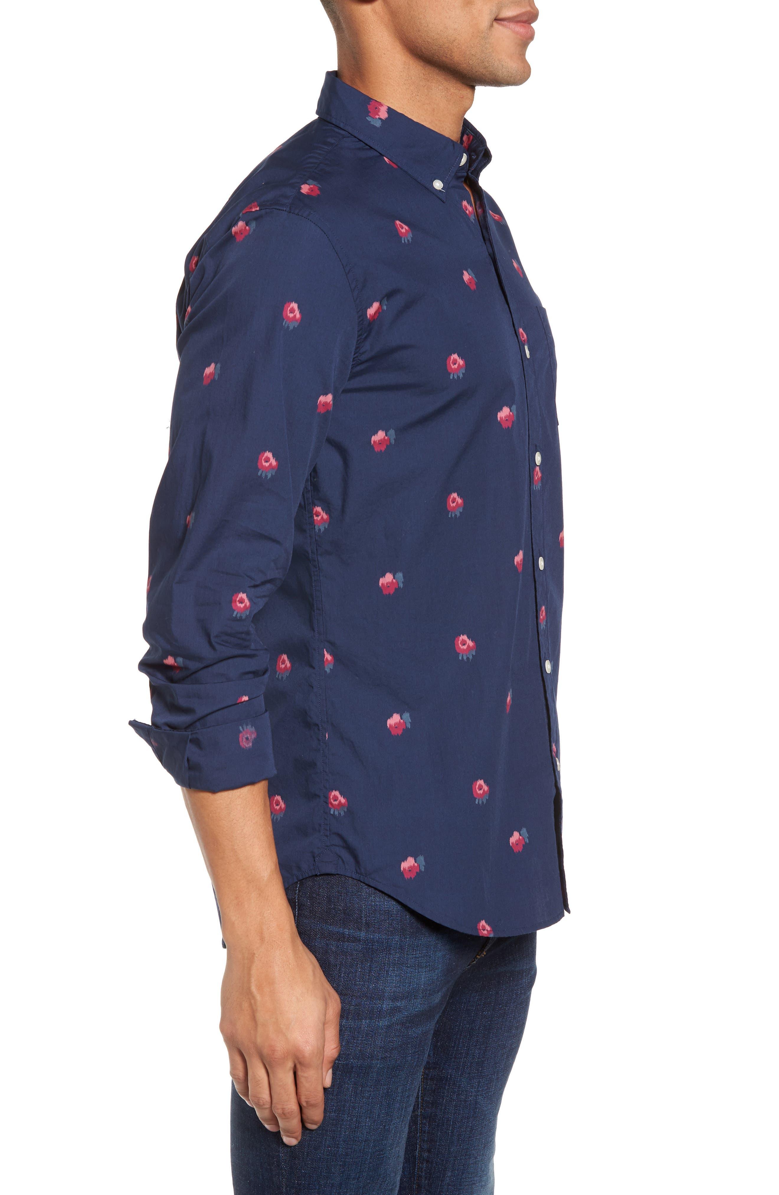 Slim Fit Washed Rose Print Sport Shirt,                             Alternate thumbnail 3, color,                             Light Peak Floral