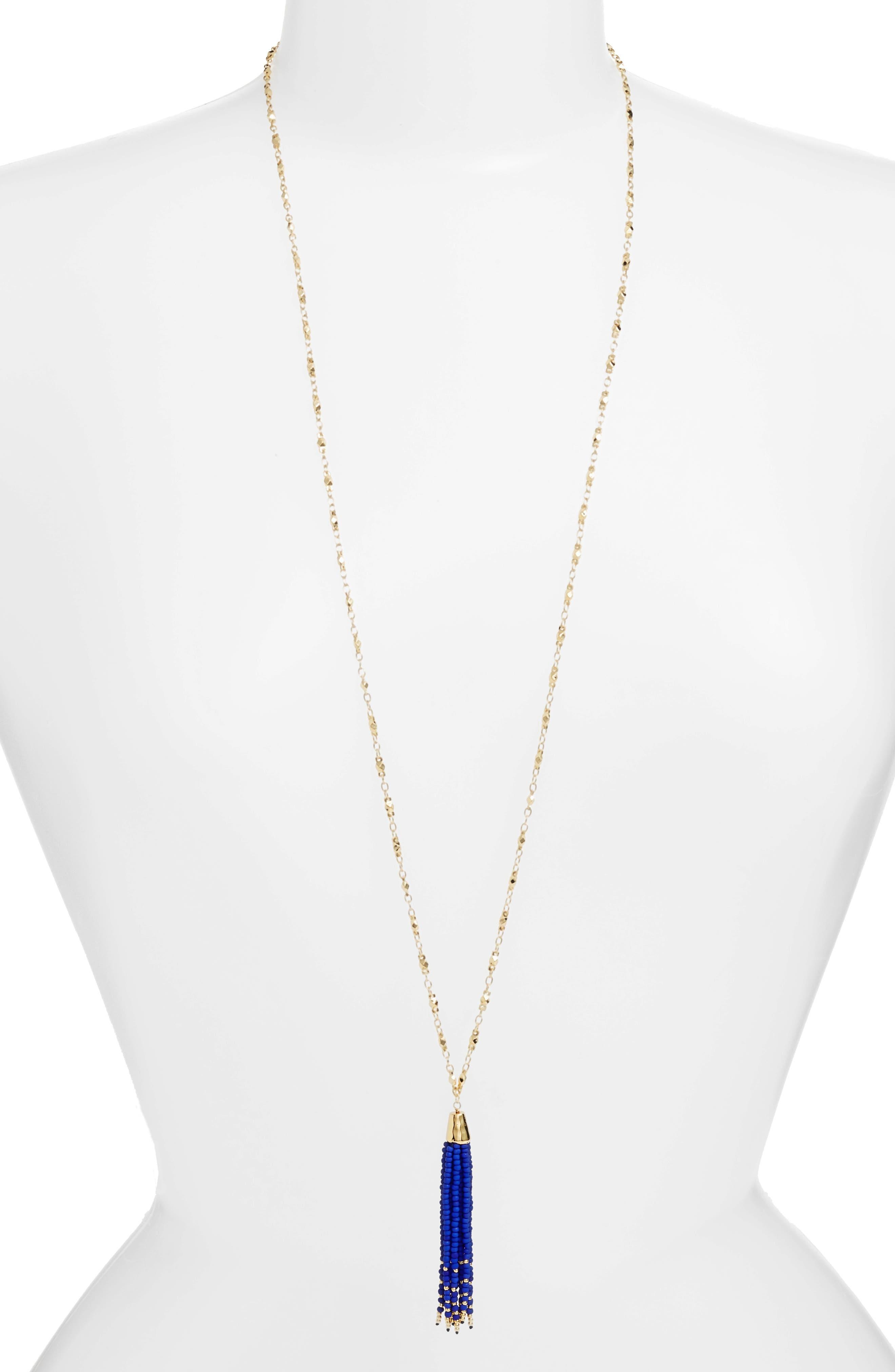 gorjana Salina Long Beaded Tassel Necklace