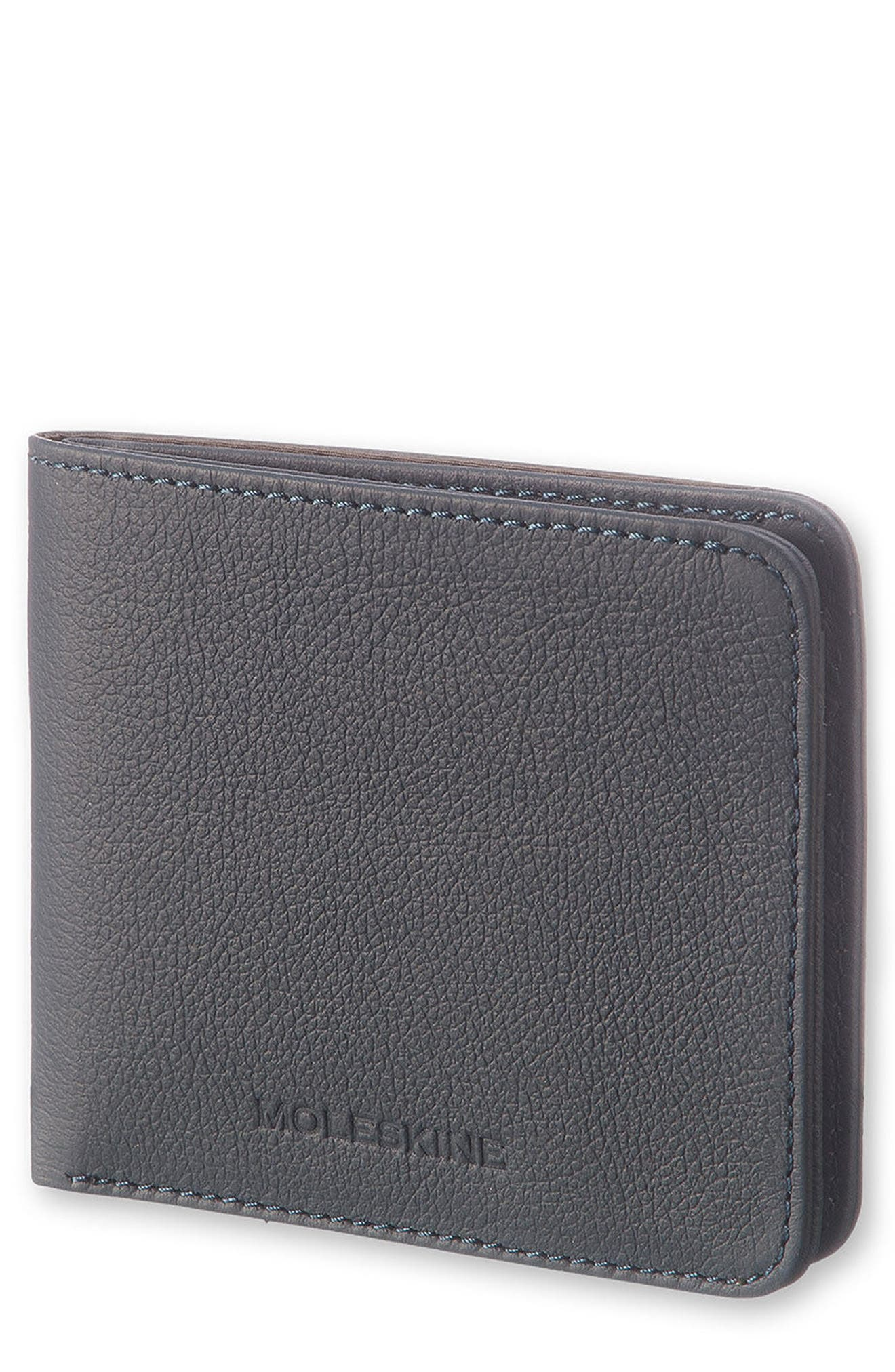 Lineage Leather Wallet,                             Main thumbnail 1, color,                             Avio Blue