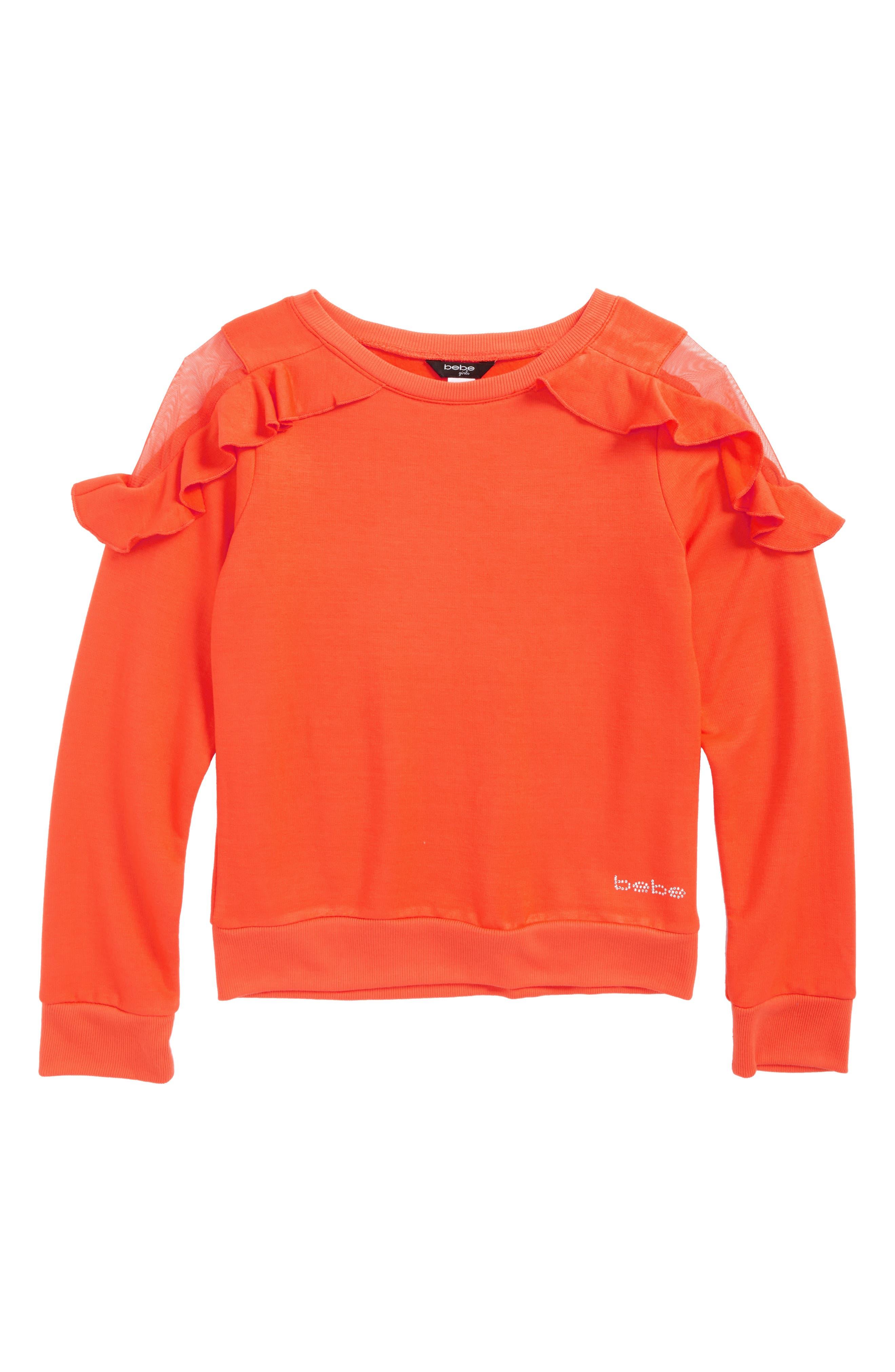 Mesh Shoulder Sweatshirt,                         Main,                         color, Orange