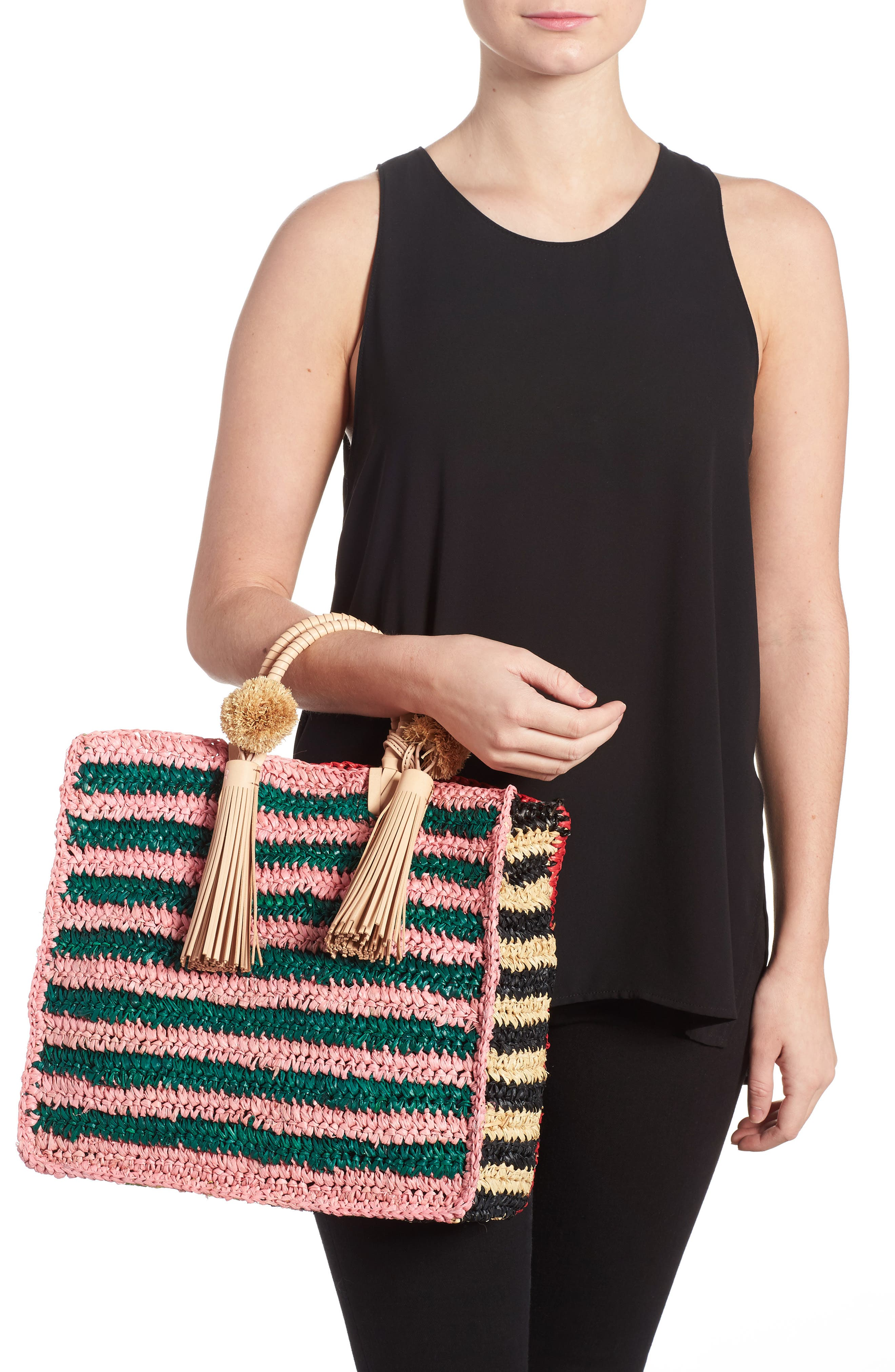 Straw Travel Tote,                             Alternate thumbnail 2, color,                             Rainbow