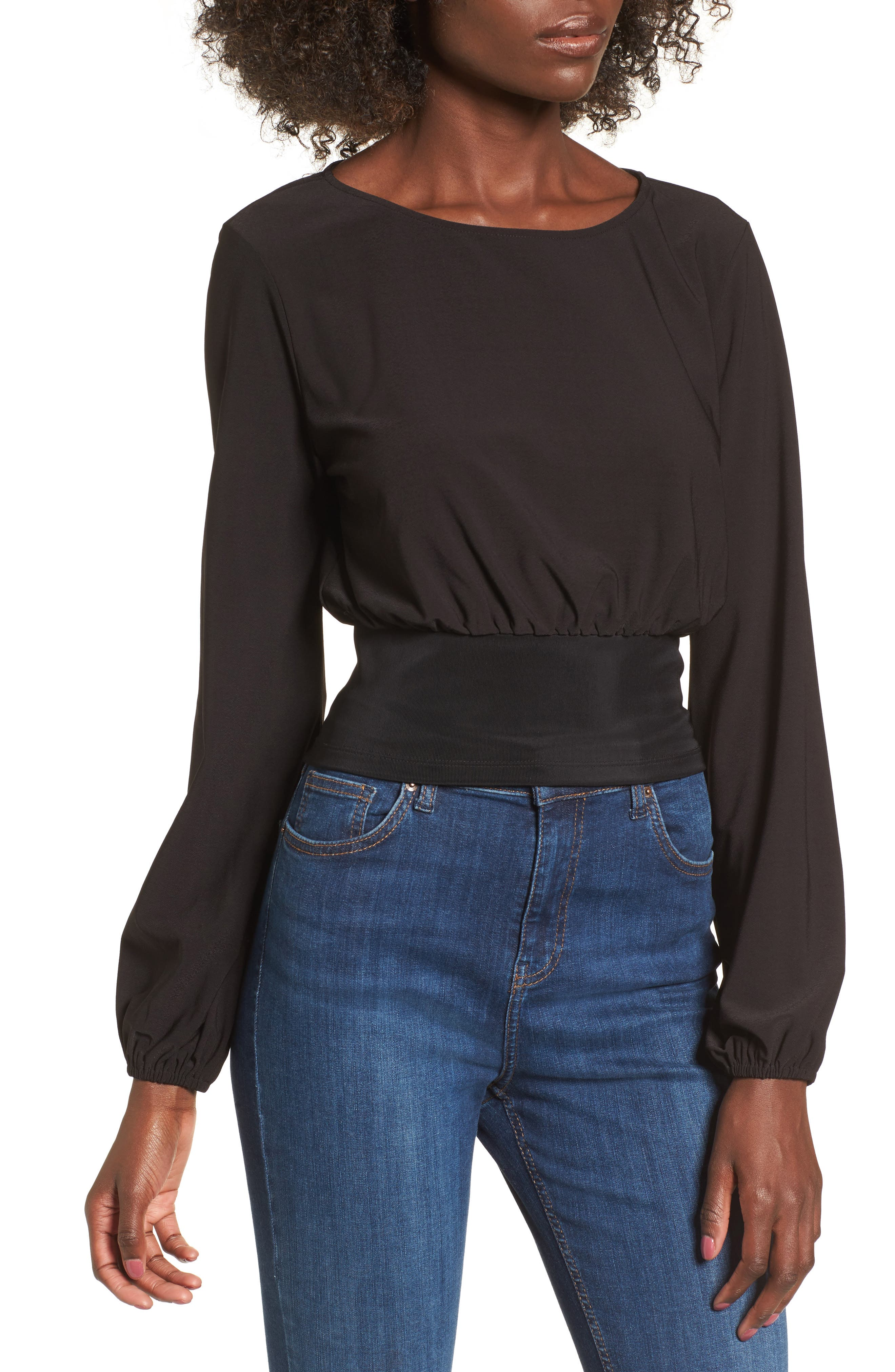 Blouson Banded Top,                         Main,                         color, Black