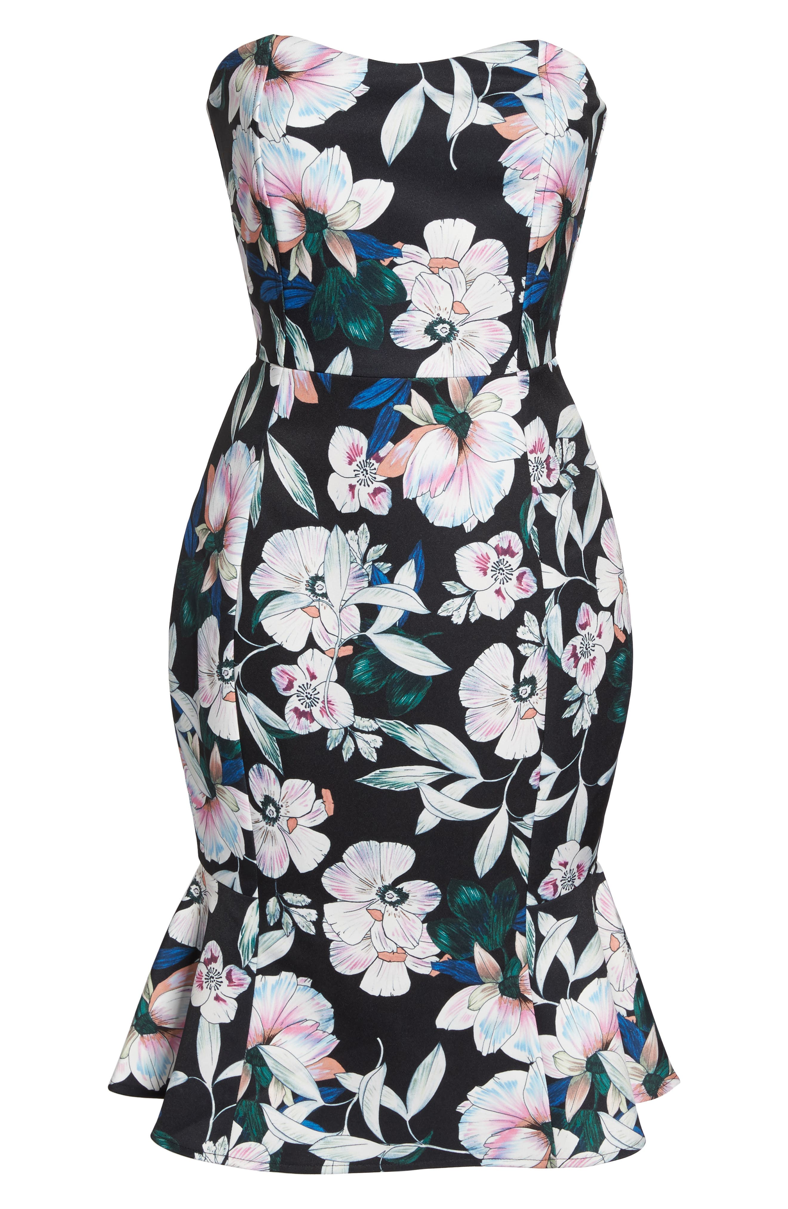 Whimsical Blooms Strapless Dress,                             Alternate thumbnail 6, color,                             Print
