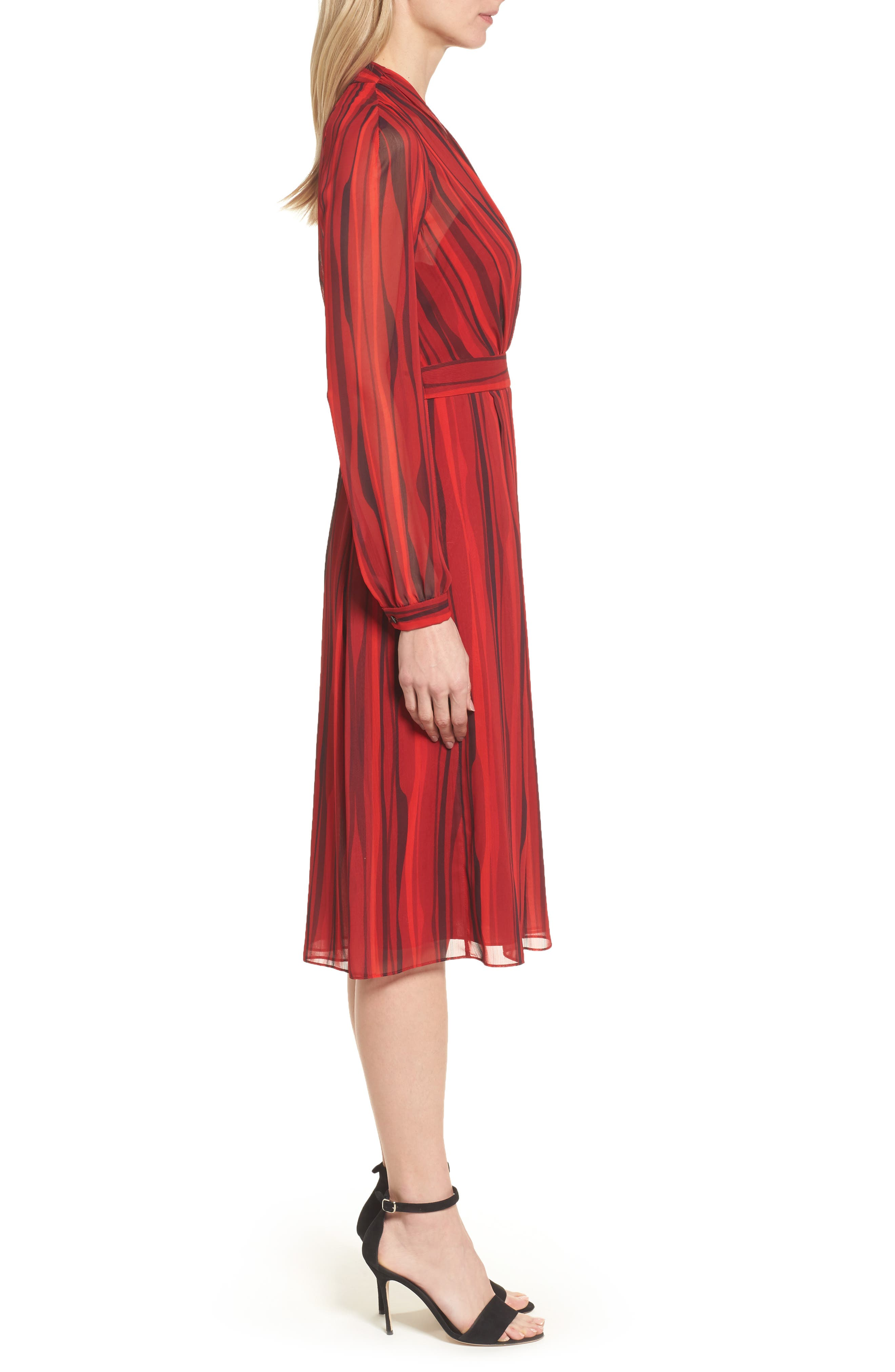 Fit & Flare Dress,                             Alternate thumbnail 3, color,                             Titian Red/ Black Combo
