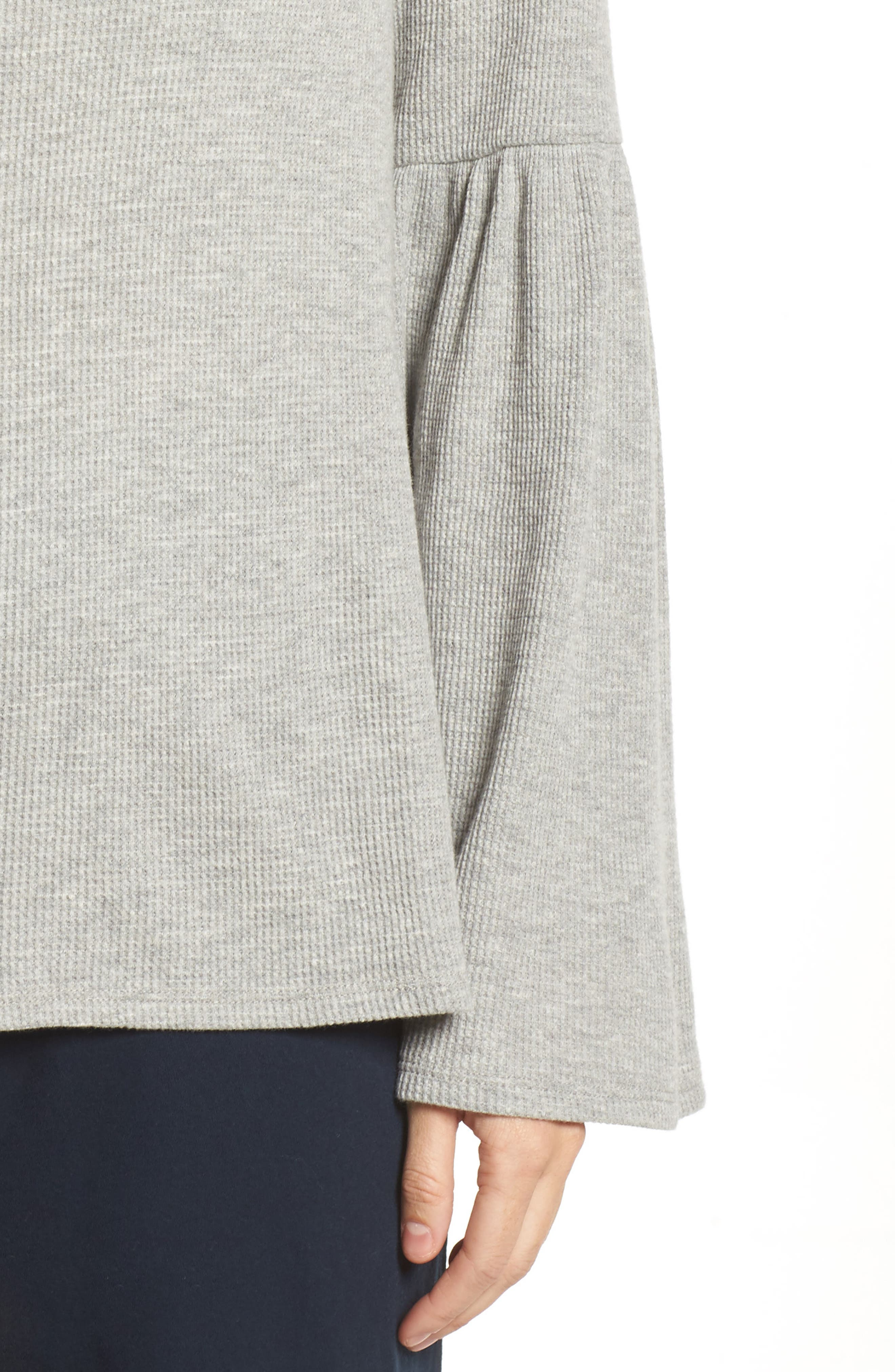 Imo Thermal Knit Tee,                             Alternate thumbnail 5, color,                             Heather Grey