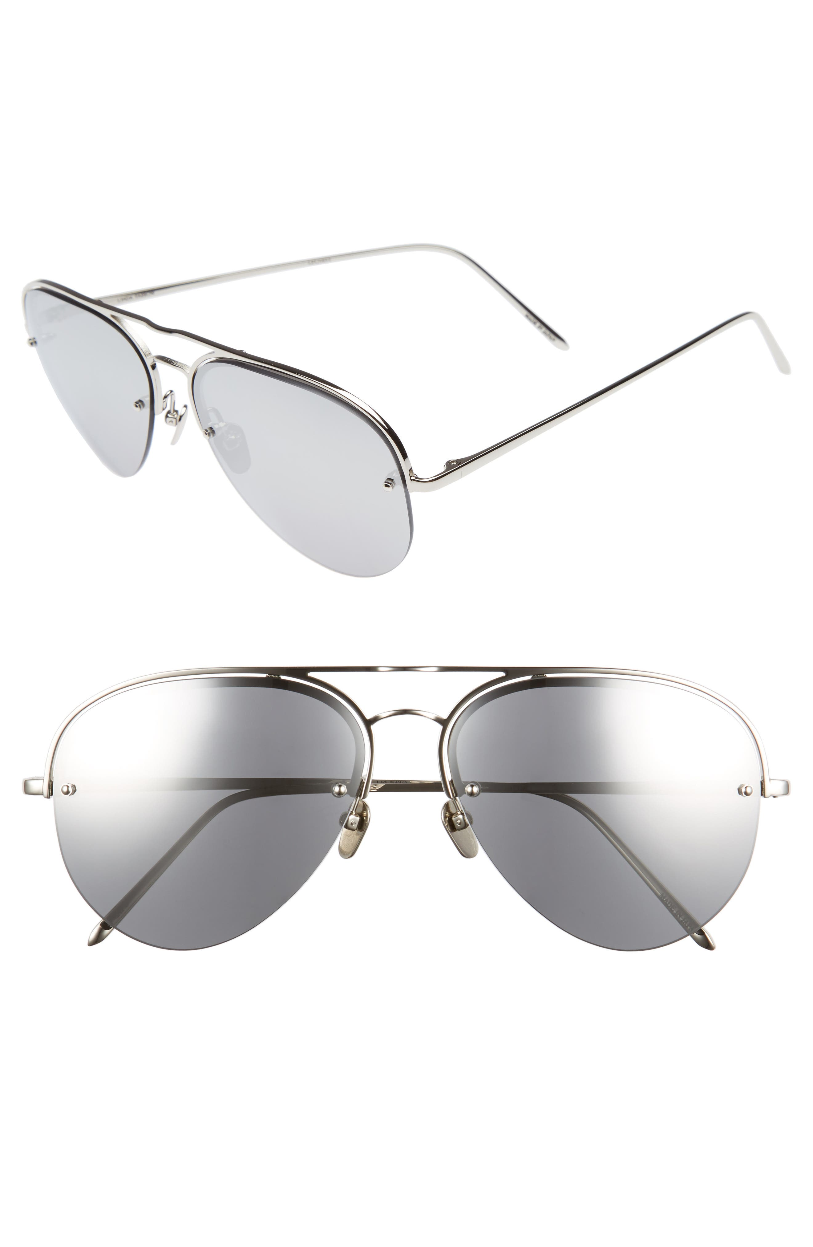 60mm Mirrored 18 Karat Gold Aviator Sunglasses,                         Main,                         color, White Gold/ Platinum