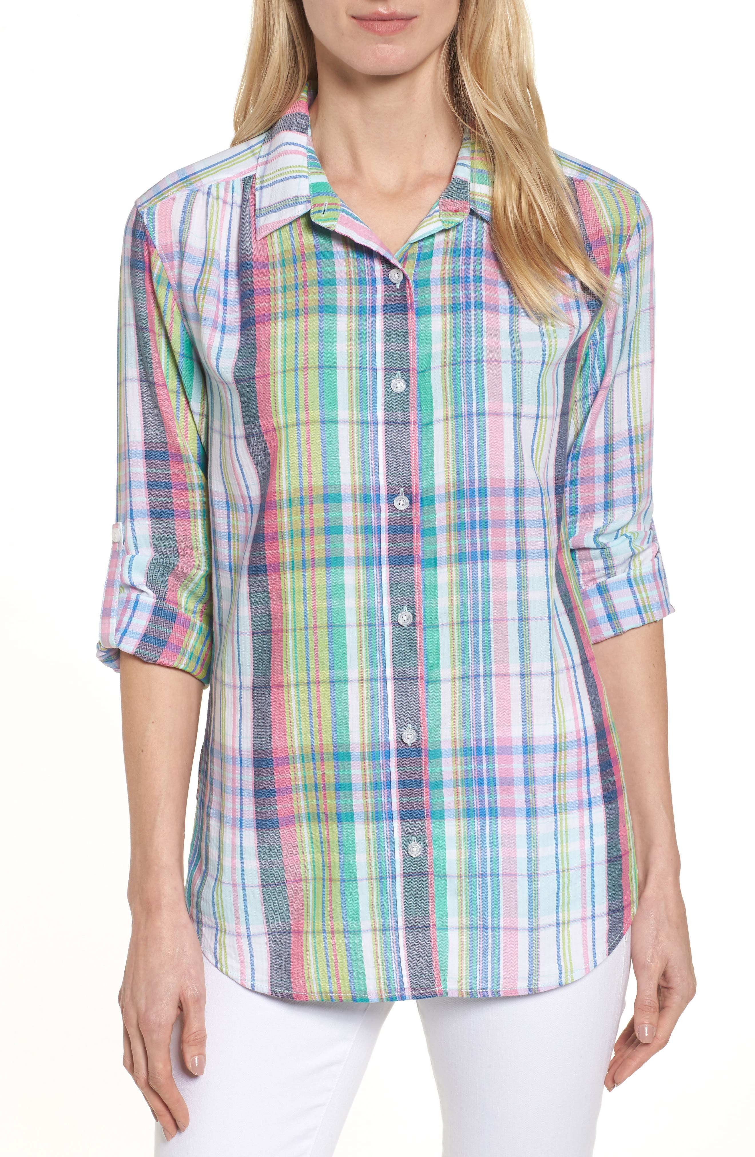 Muffy Madras Button-Up Top,                         Main,                         color, Virtual Pink