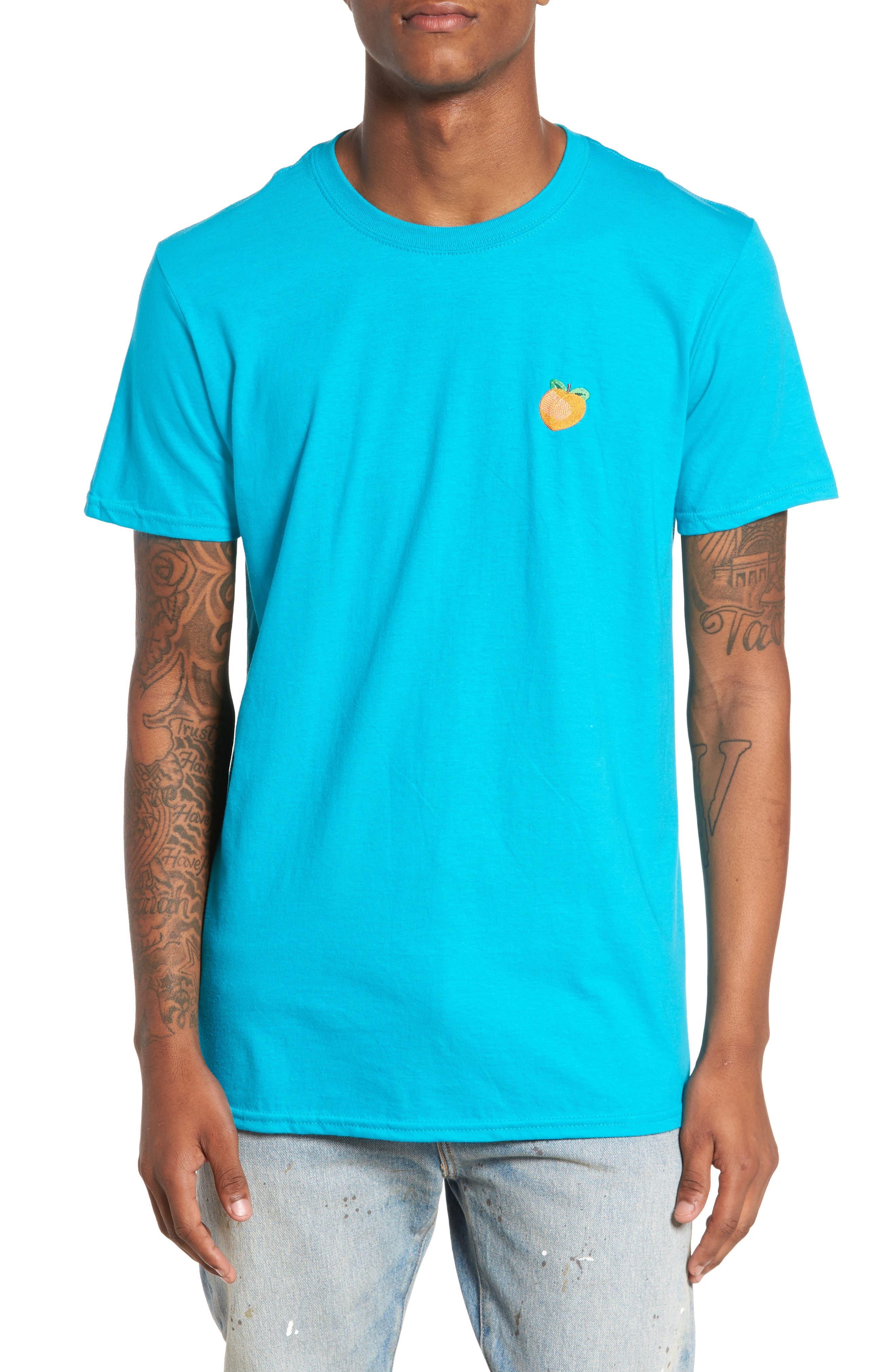 Embroidered Peach T-Shirt,                         Main,                         color, Teal Peach