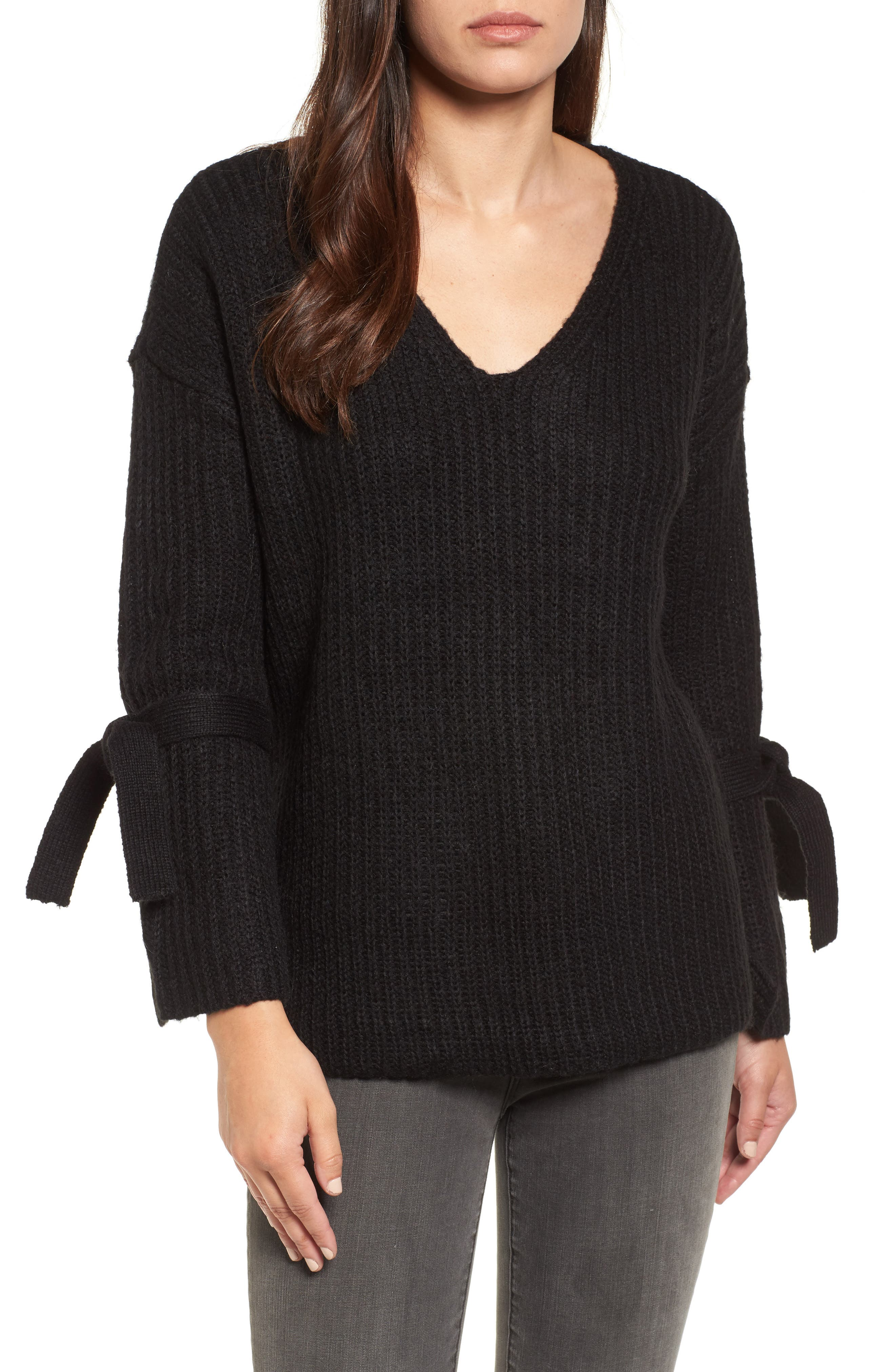 Tie Sleeve Sweater,                             Main thumbnail 1, color,                             Black