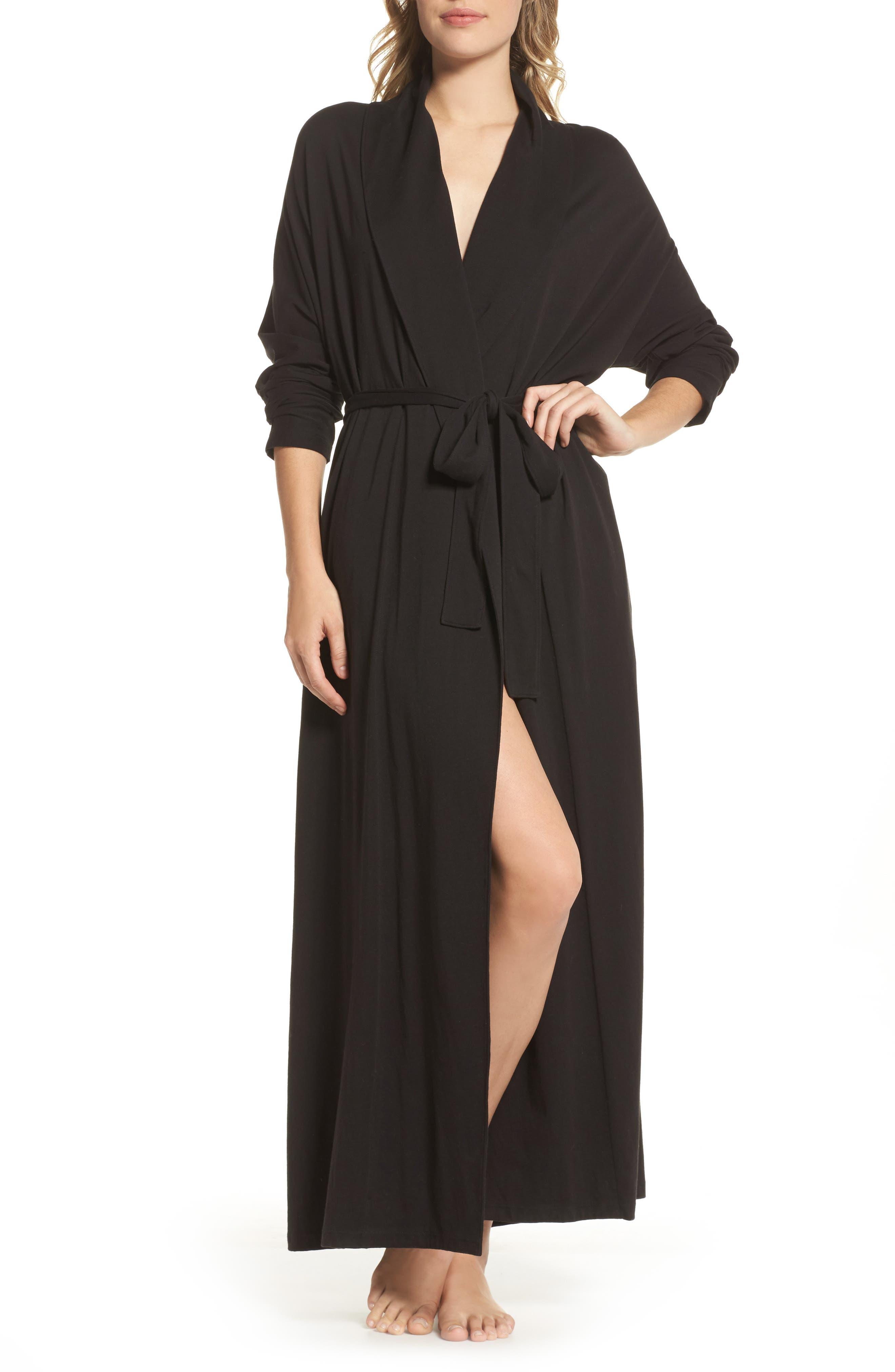 Paola Pima Cotton Robe,                         Main,                         color, Black