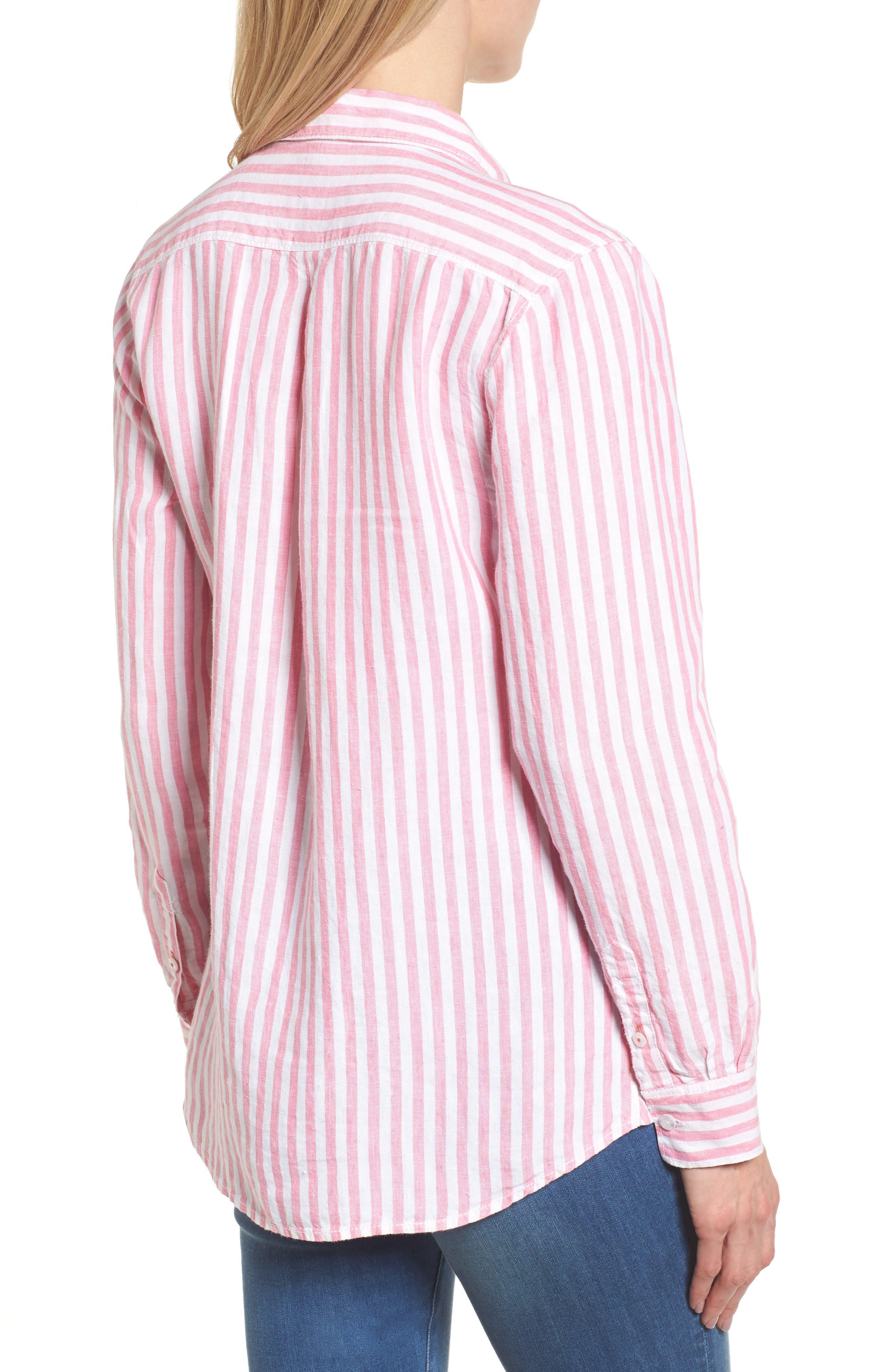 Cabana Stripe Button-Up Top,                             Alternate thumbnail 2, color,                             Soft Flamingo