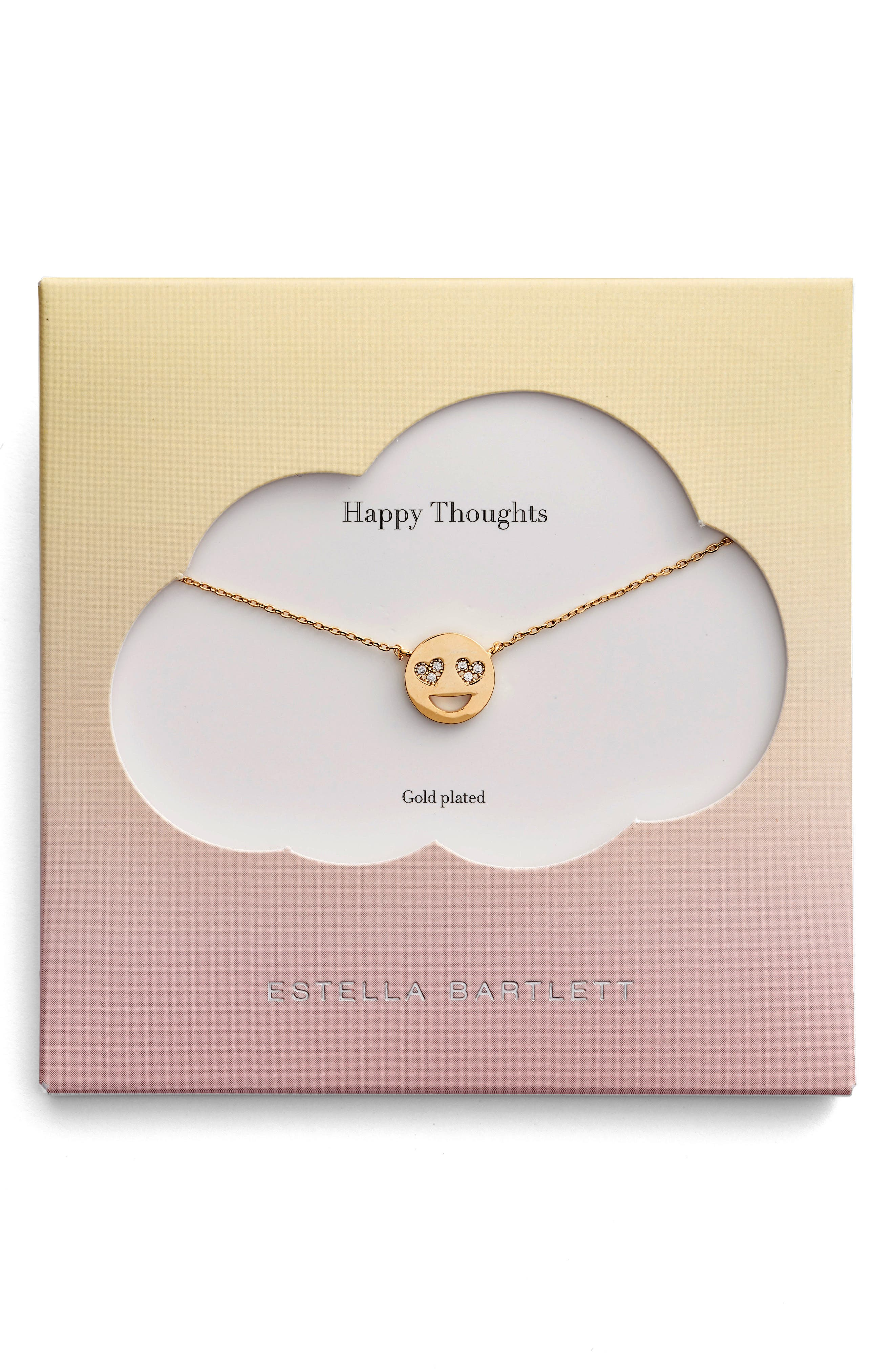 Happy Thoughts Emoji Necklace,                             Main thumbnail 1, color,                             Gold