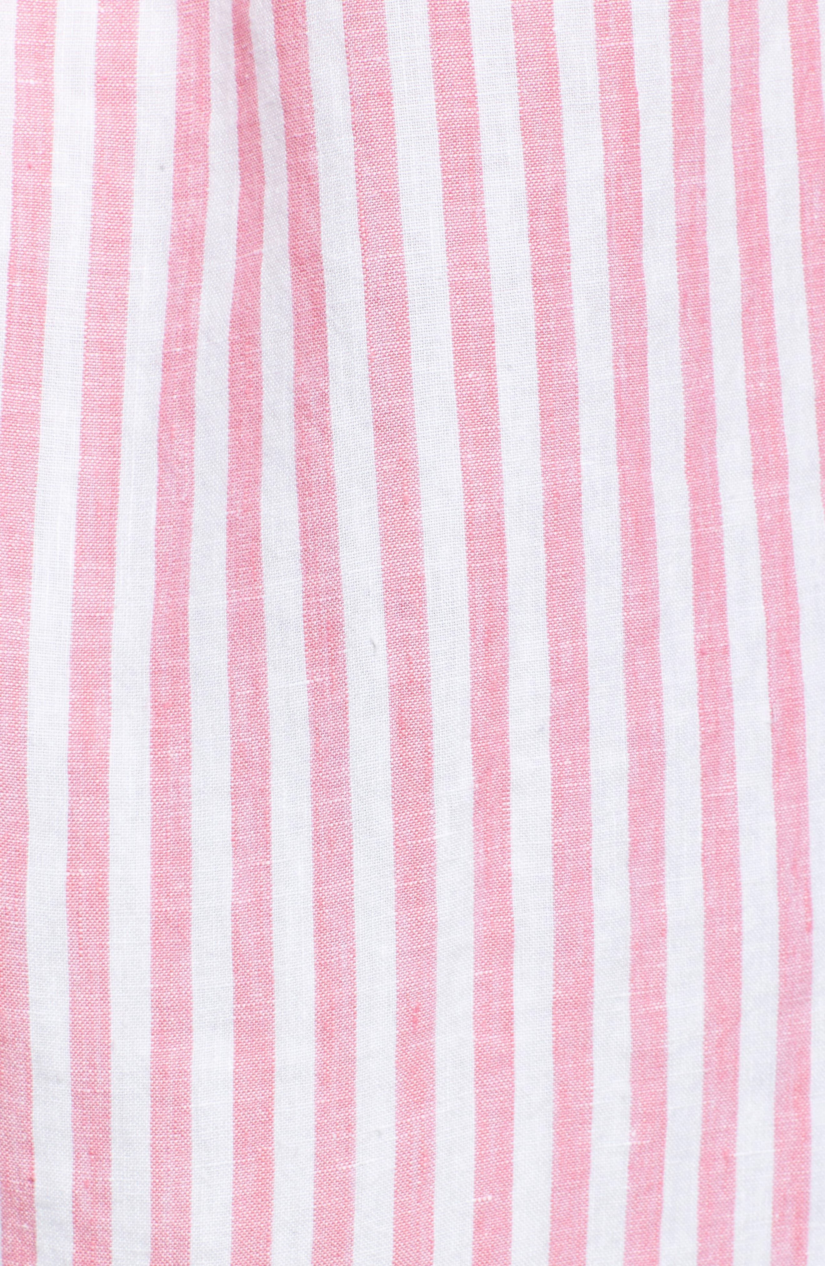 Cabana Stripe Button-Up Top,                             Alternate thumbnail 5, color,                             Soft Flamingo