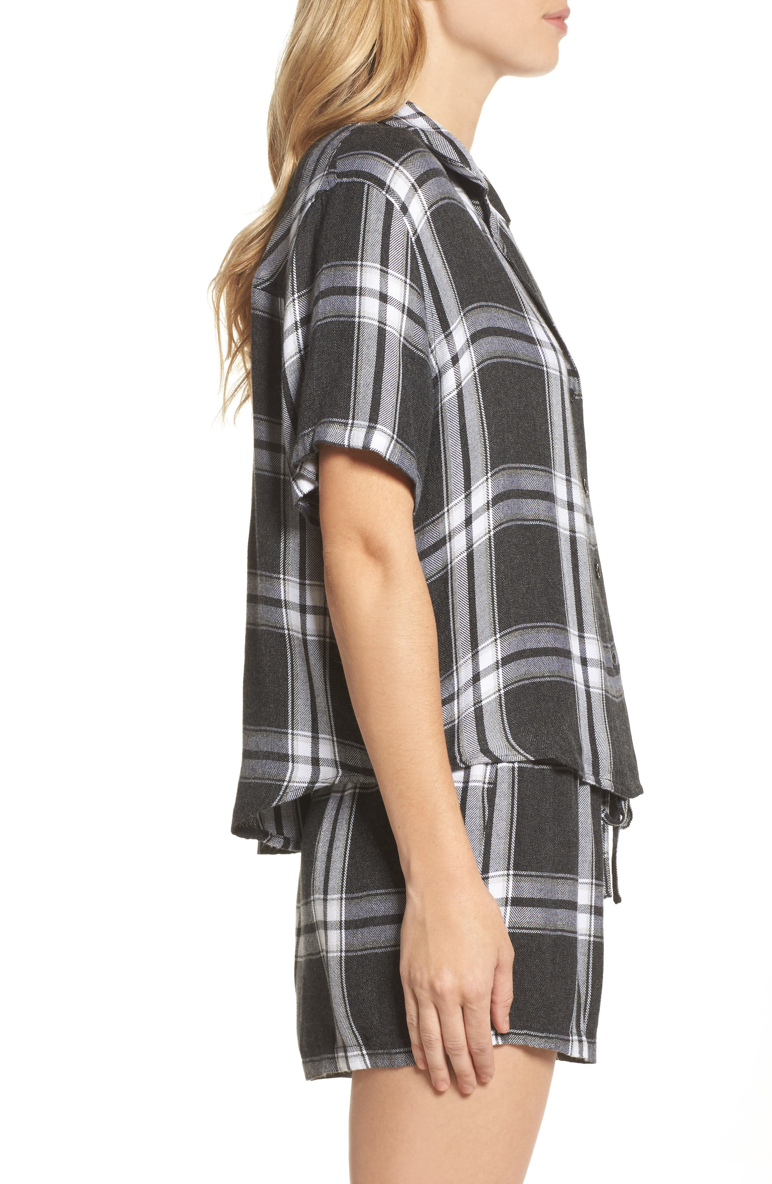 Plaid Short Pajamas,                             Alternate thumbnail 3, color,                             Ash/ Bone