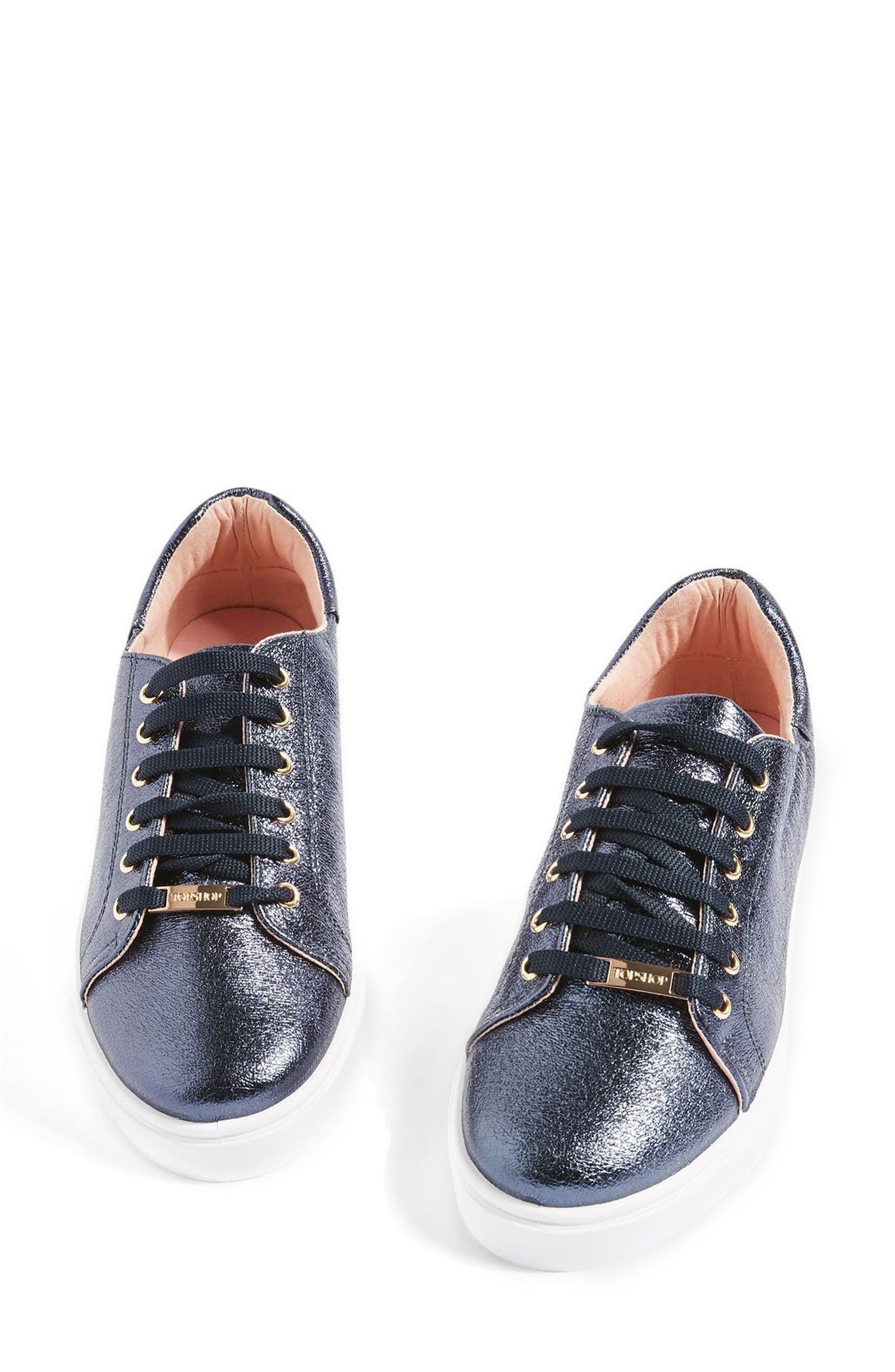 Main Image - Topshop Cosmo Metallic Lace-Up Sneaker (Women)