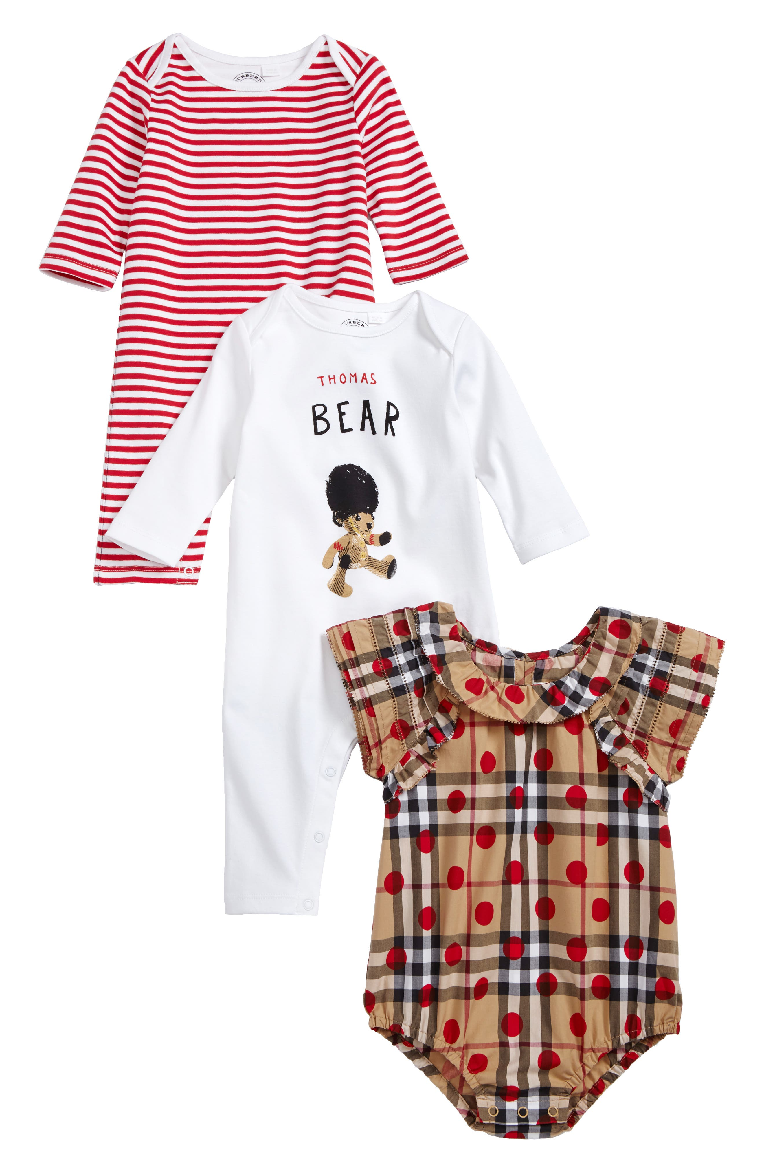 Main Image - Burberry Thomas Bodysuit & Rompers Set (Baby Girls)