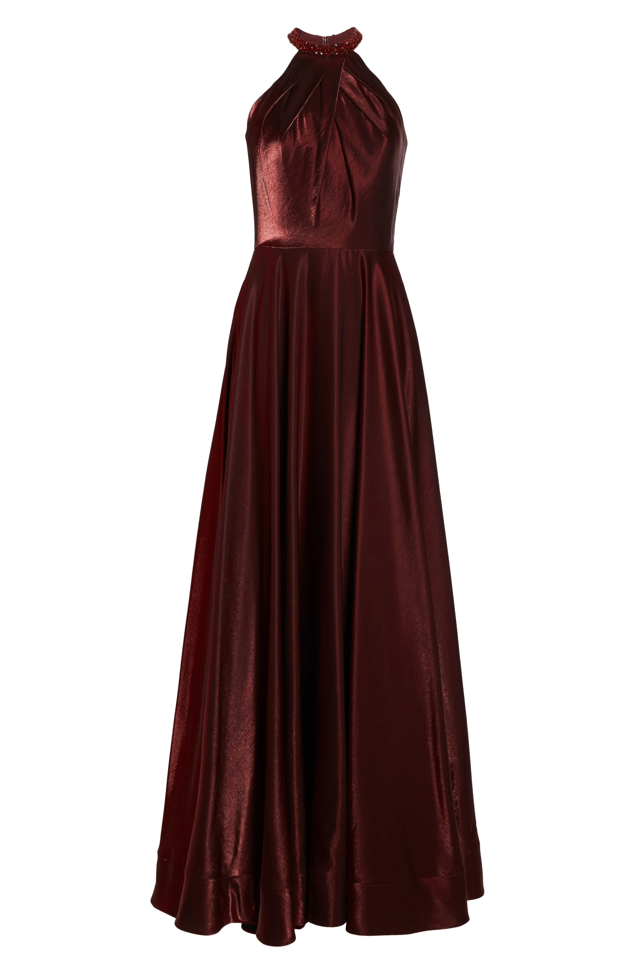 Beaded Halter Neck A-Line Gown,                             Alternate thumbnail 6, color,                             Burgundy