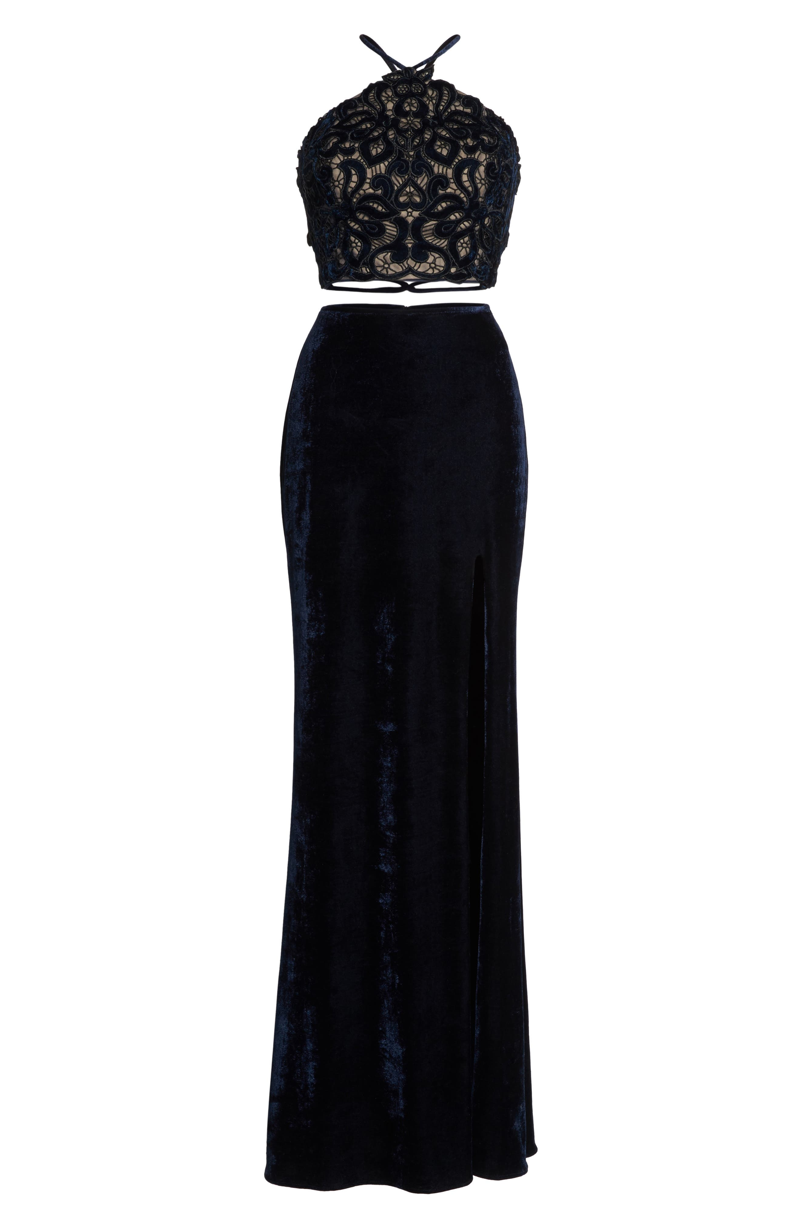 Two-Piece Embroidered Velvet Gown,                             Alternate thumbnail 6, color,                             Navy
