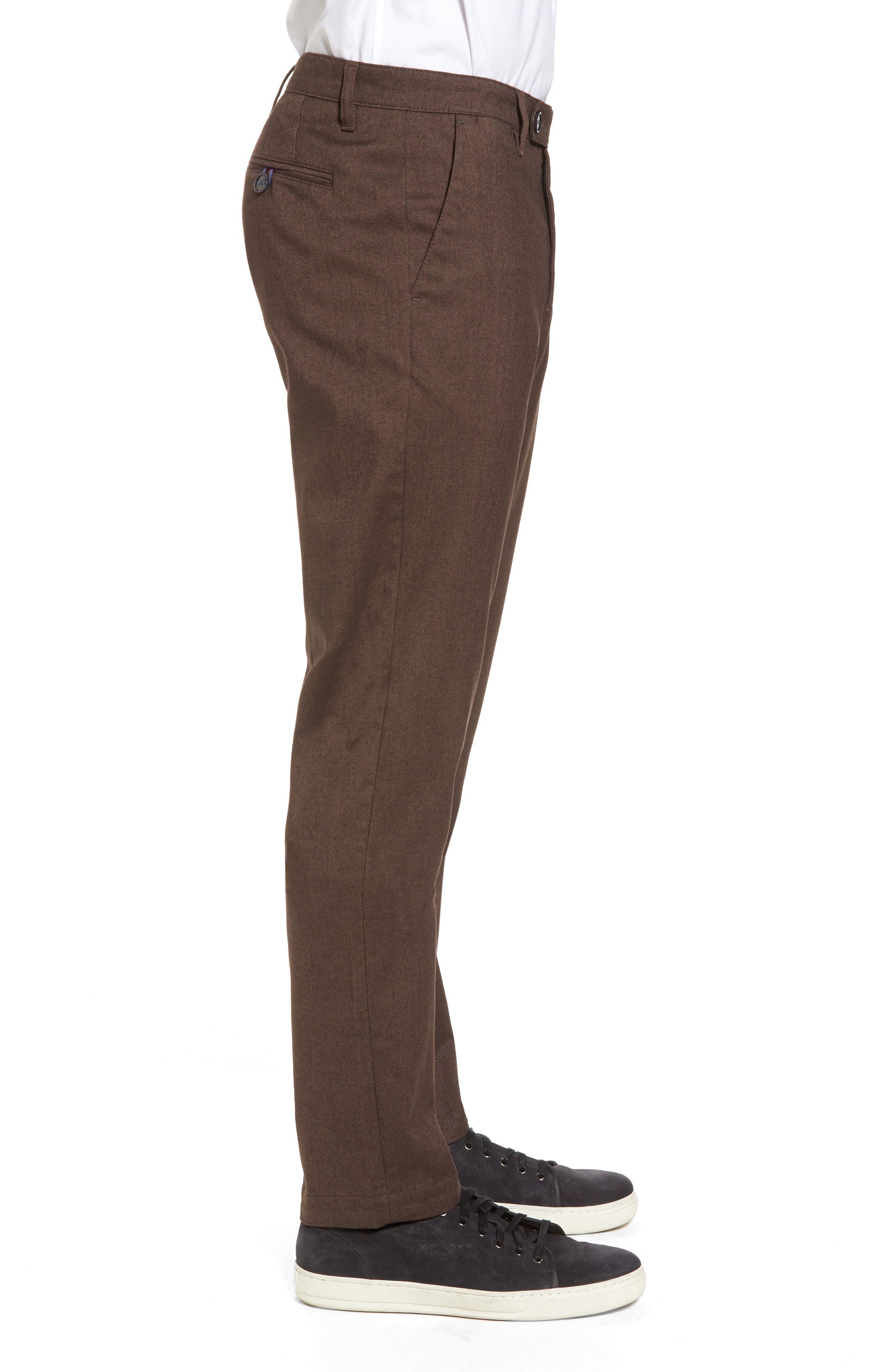 Freshman Modern Fit Brushed Pants,                             Alternate thumbnail 3, color,                             Brown