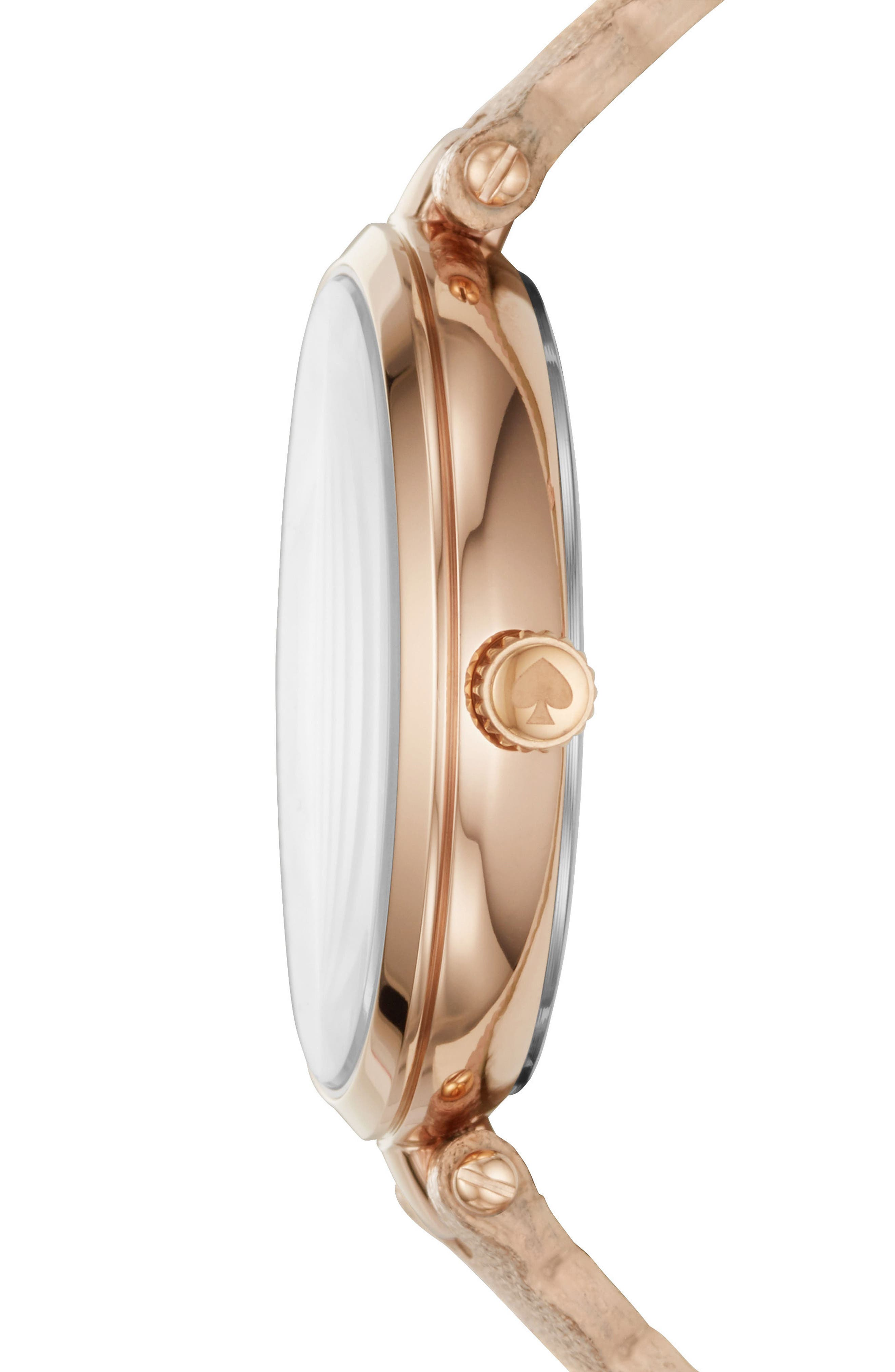 crystal accent scallop holland leather strap watch, 34mm,                             Alternate thumbnail 2, color,                             Rose Gold/ White/ Rose Gold