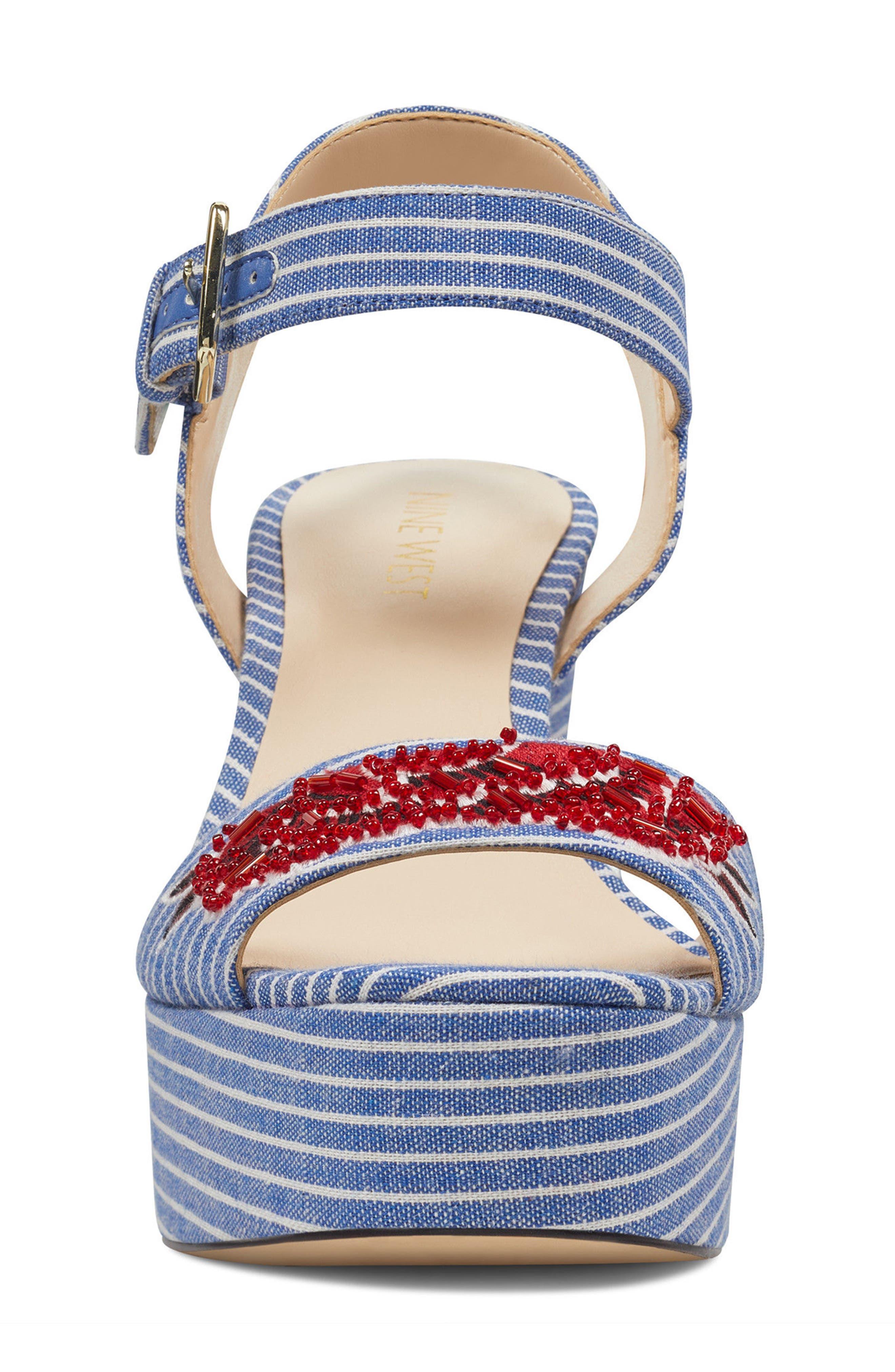 Fontayah Platform Sandal,                             Alternate thumbnail 4, color,                             Blue/ White Fabric