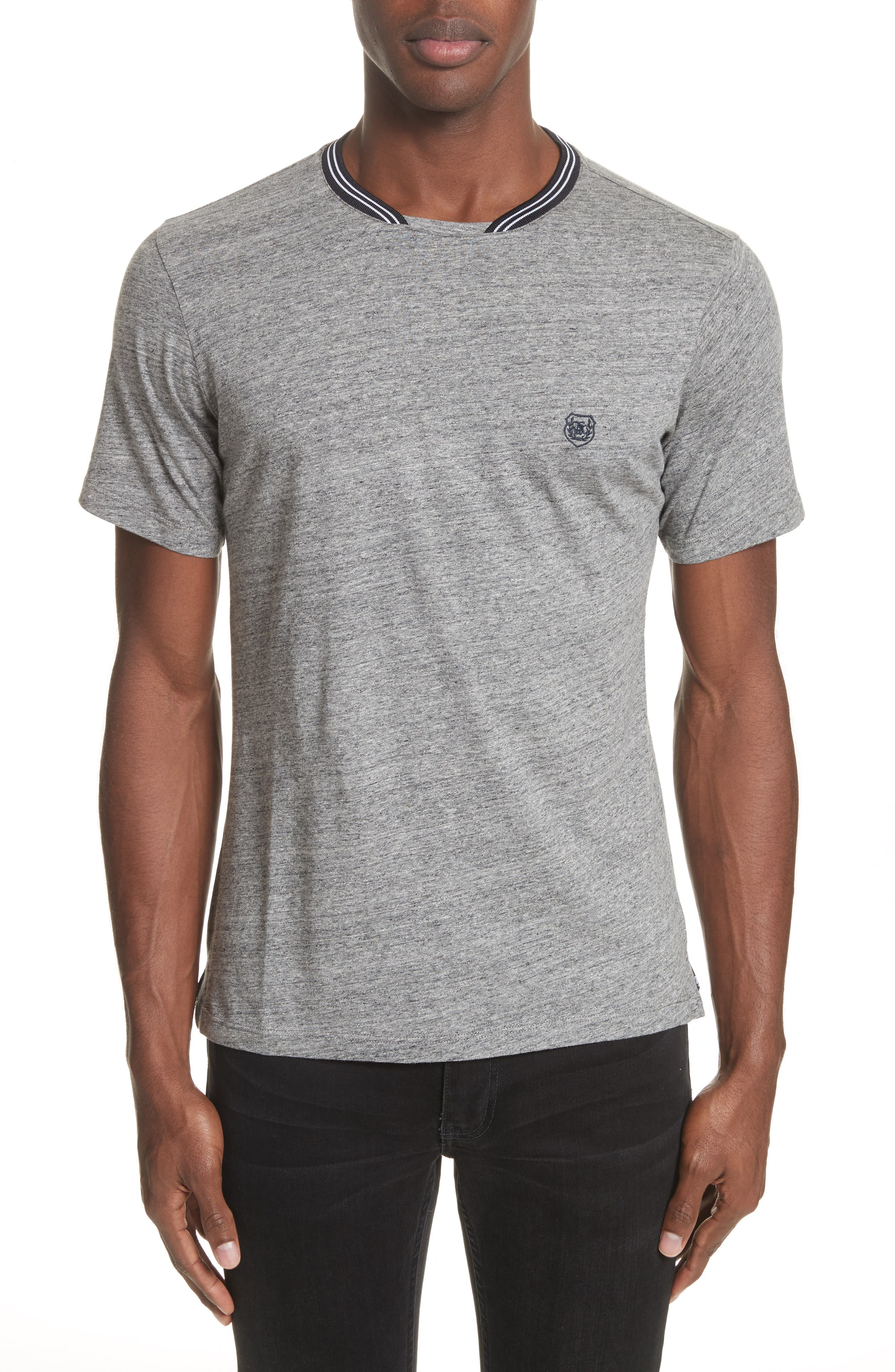 Ribbed Contrast T-Shirt,                         Main,                         color, Grey