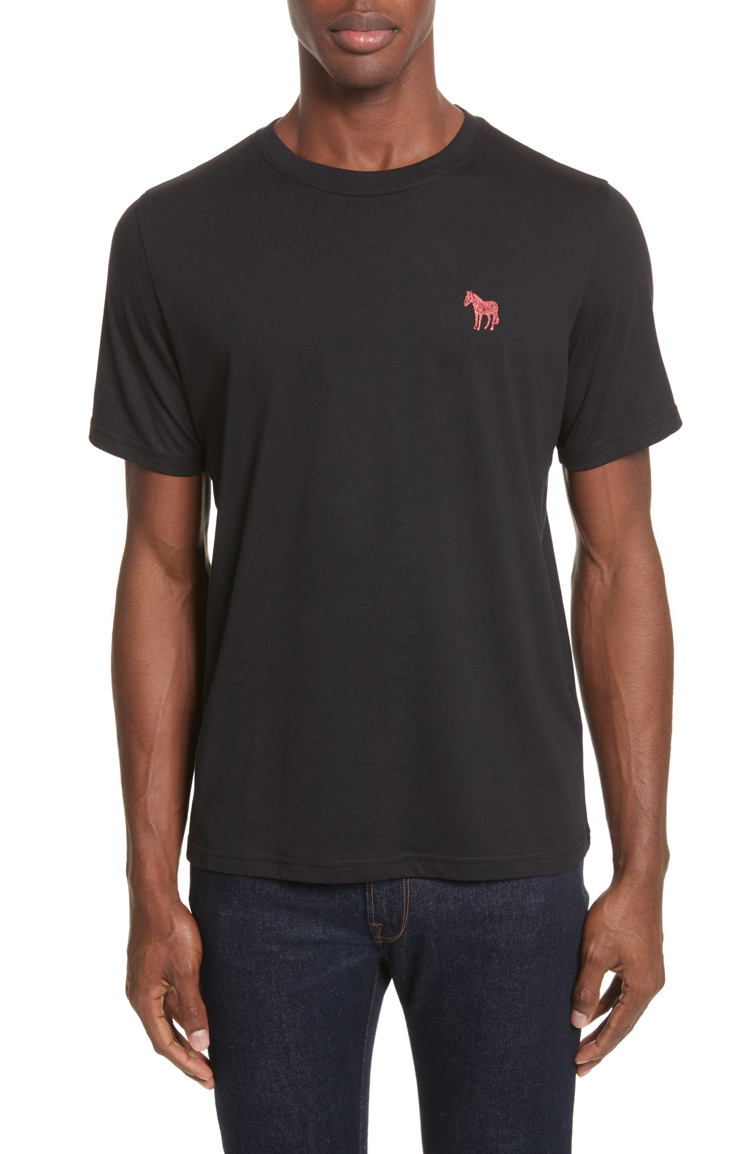 Embroidered Zebra T-Shirt,                             Main thumbnail 1, color,                             Black