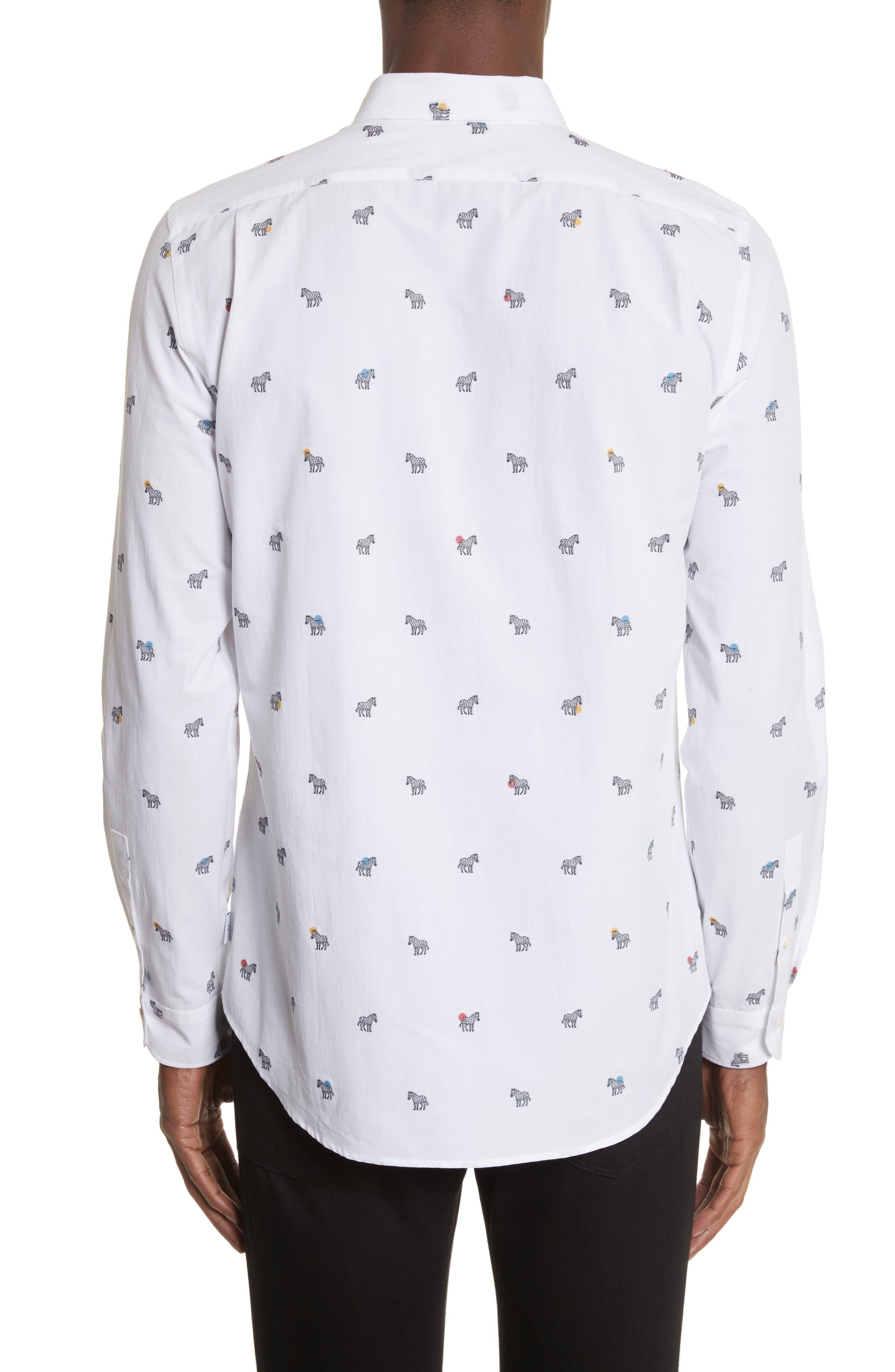 Allover Zebra Woven Shirt,                             Alternate thumbnail 3, color,                             White