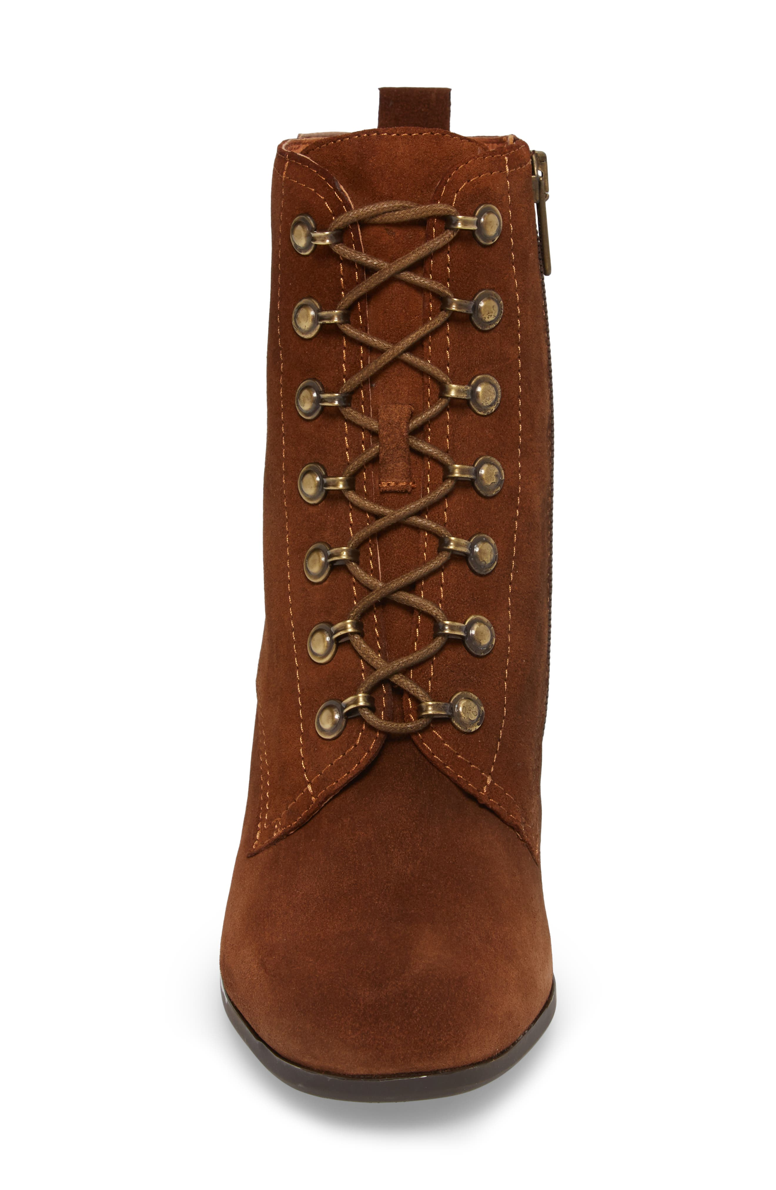 Aragon Lace-Up Boot,                             Alternate thumbnail 4, color,                             Brandy Leather