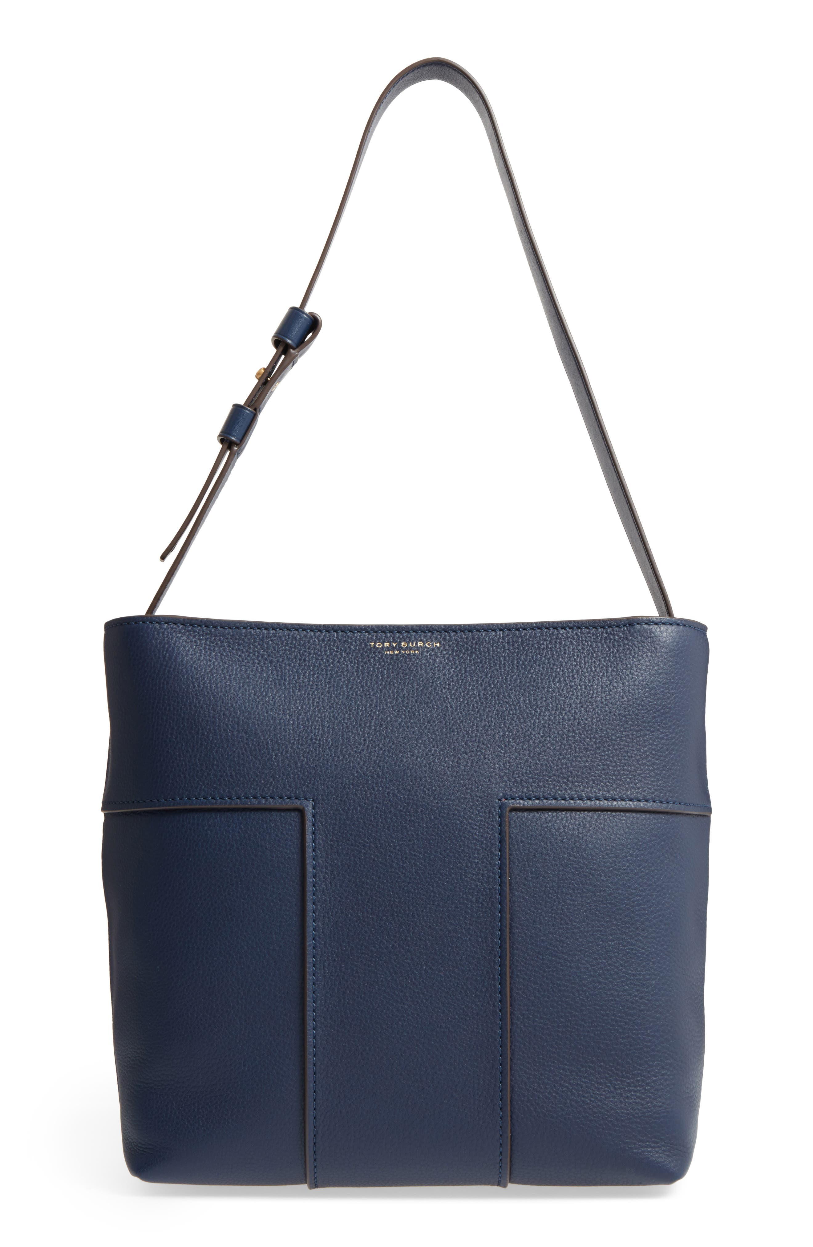 Main Image - Tory Burch Block-T Pebbled Leather Hobo