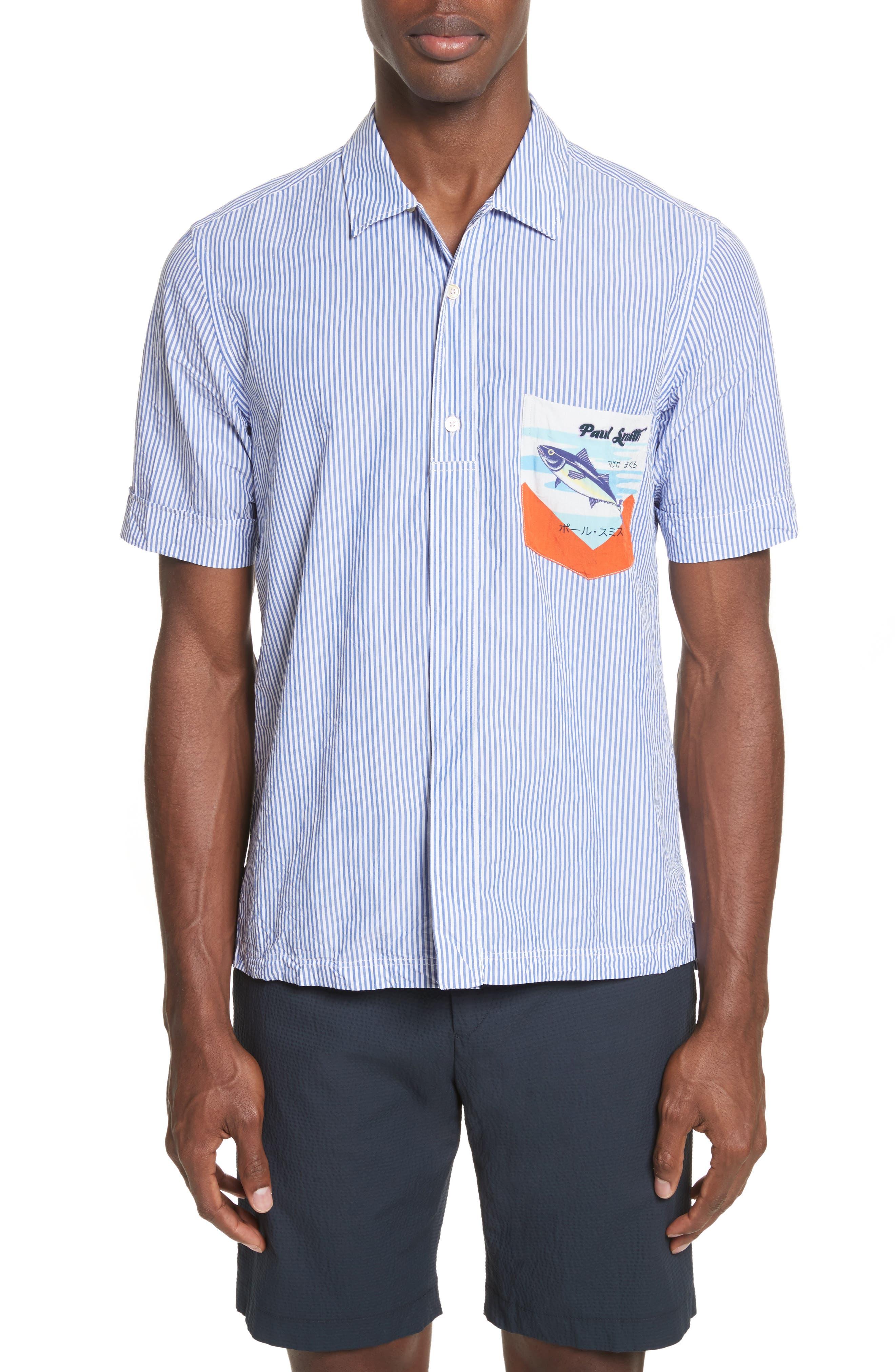 Stripe Seersucker Camp Shirt,                         Main,                         color, 41 Blue Multi