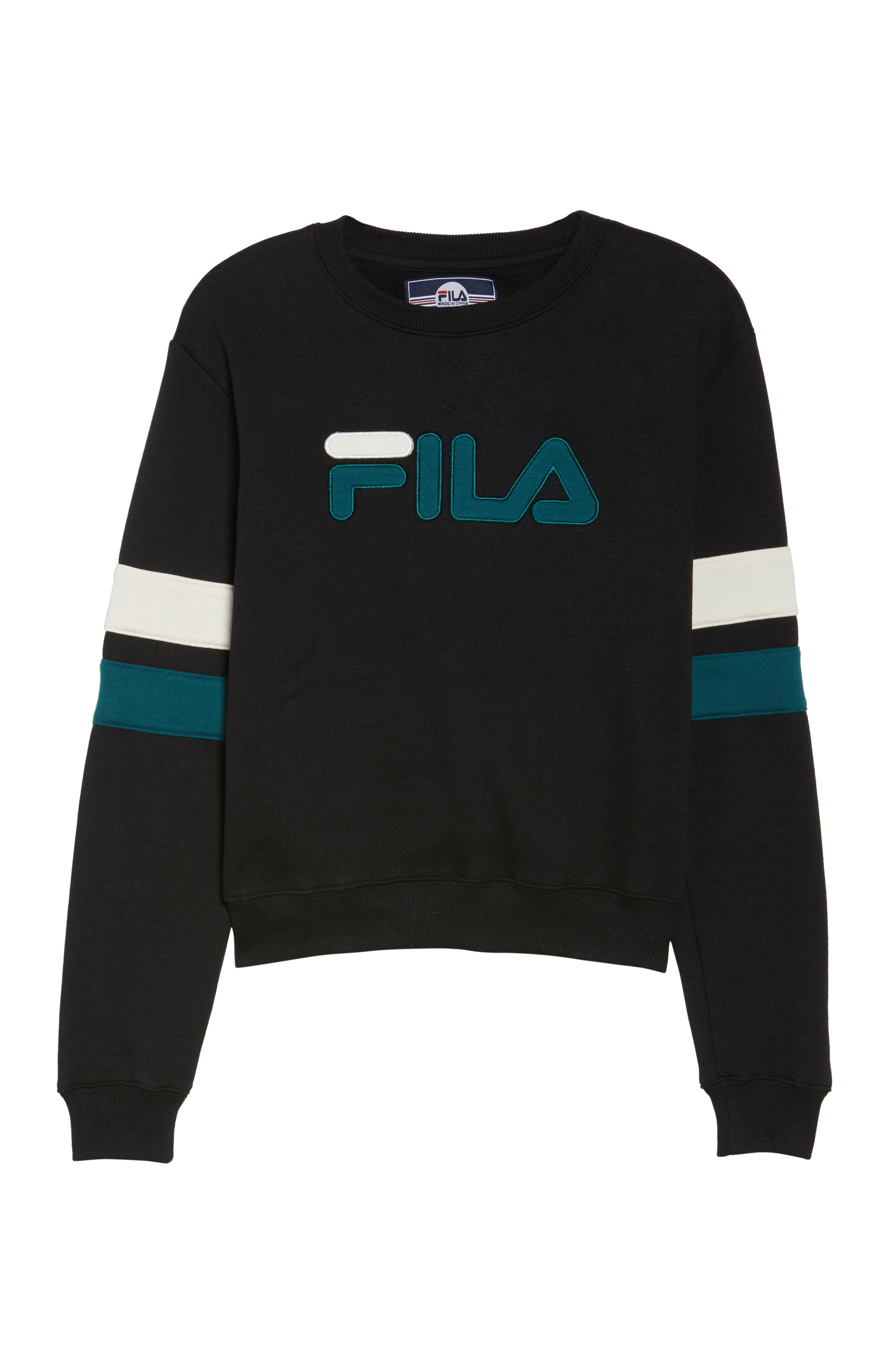 Newton Sweatshirt,                             Alternate thumbnail 7, color,                             Black/ Deep Teal/ Gardenia