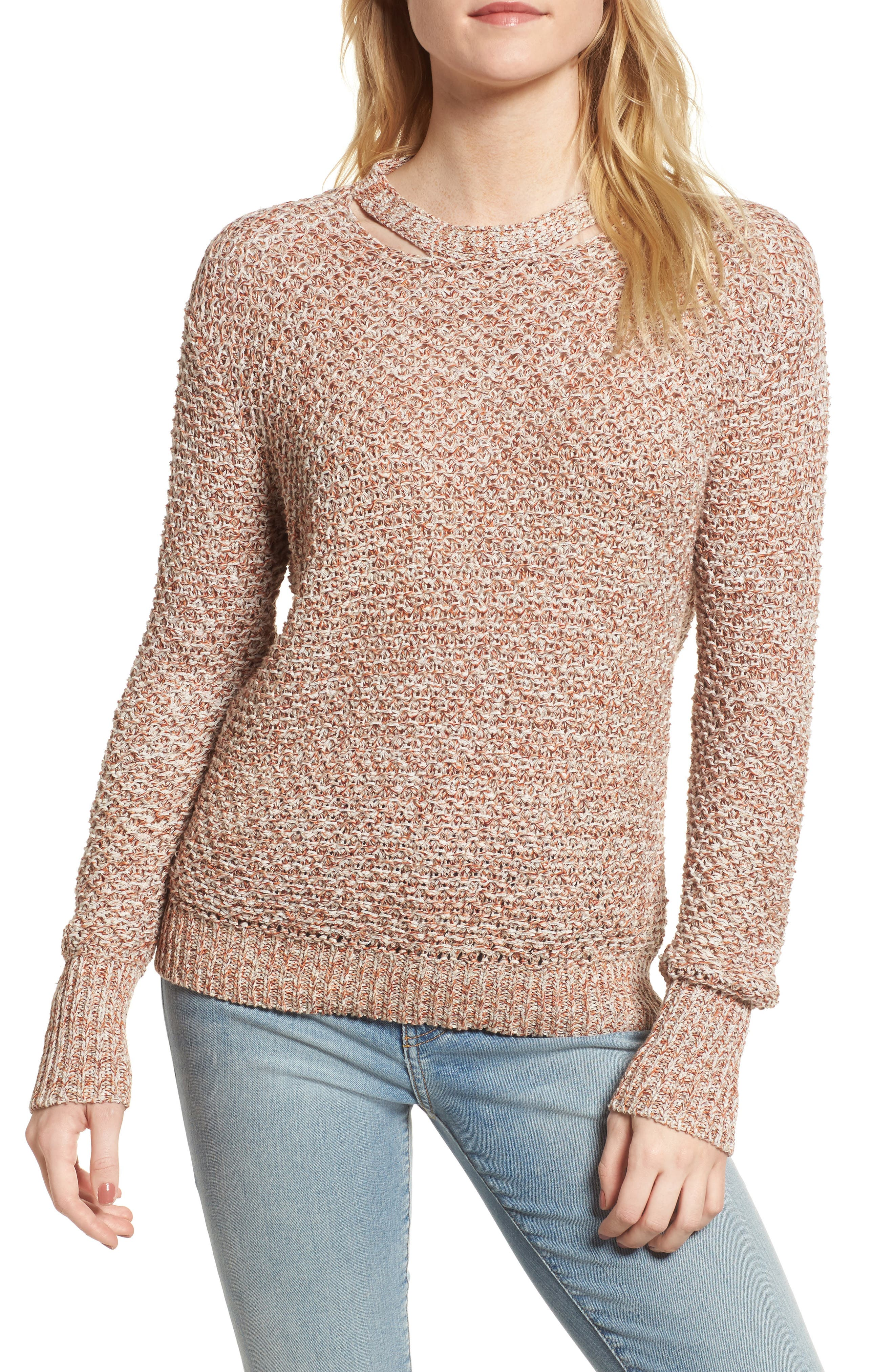 Mélange Open Back Sweater,                         Main,                         color, Aurora